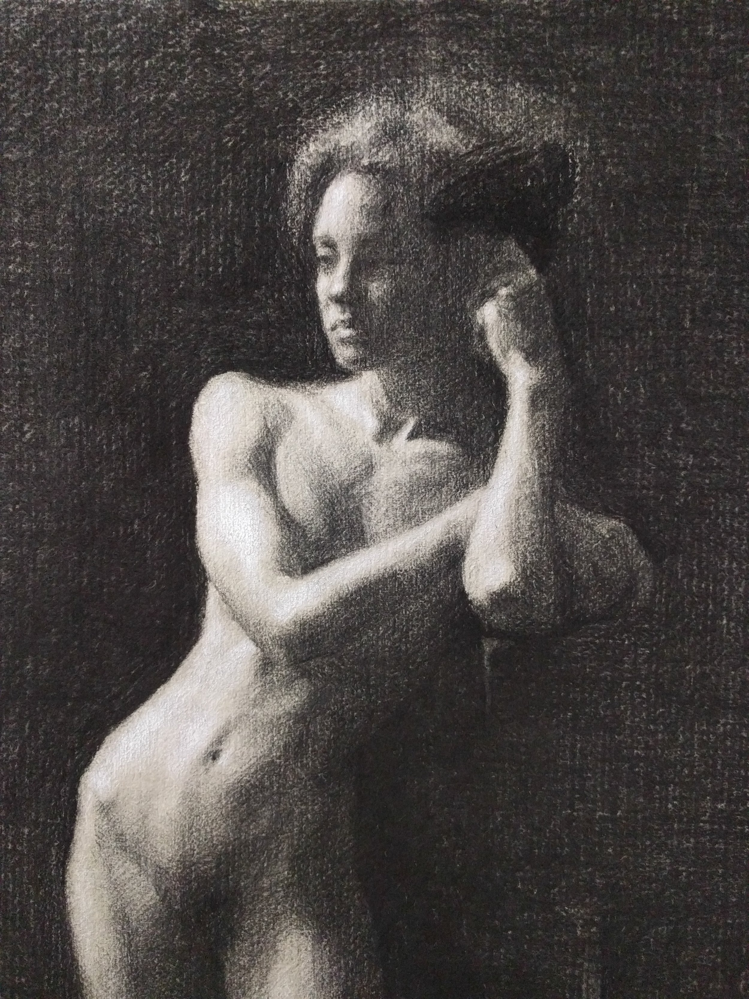 Long-Pose Charcoal Drawing in Process