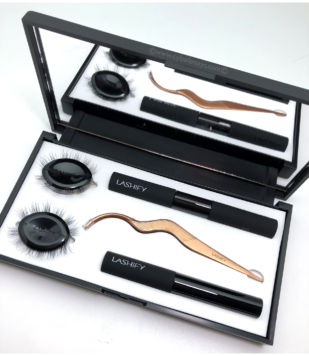 Lashify Control Kit includes a Whisper bond in Clear & Black, lash sealer, two Gossamers and a Patented fusing wand in a luxe mirror case.