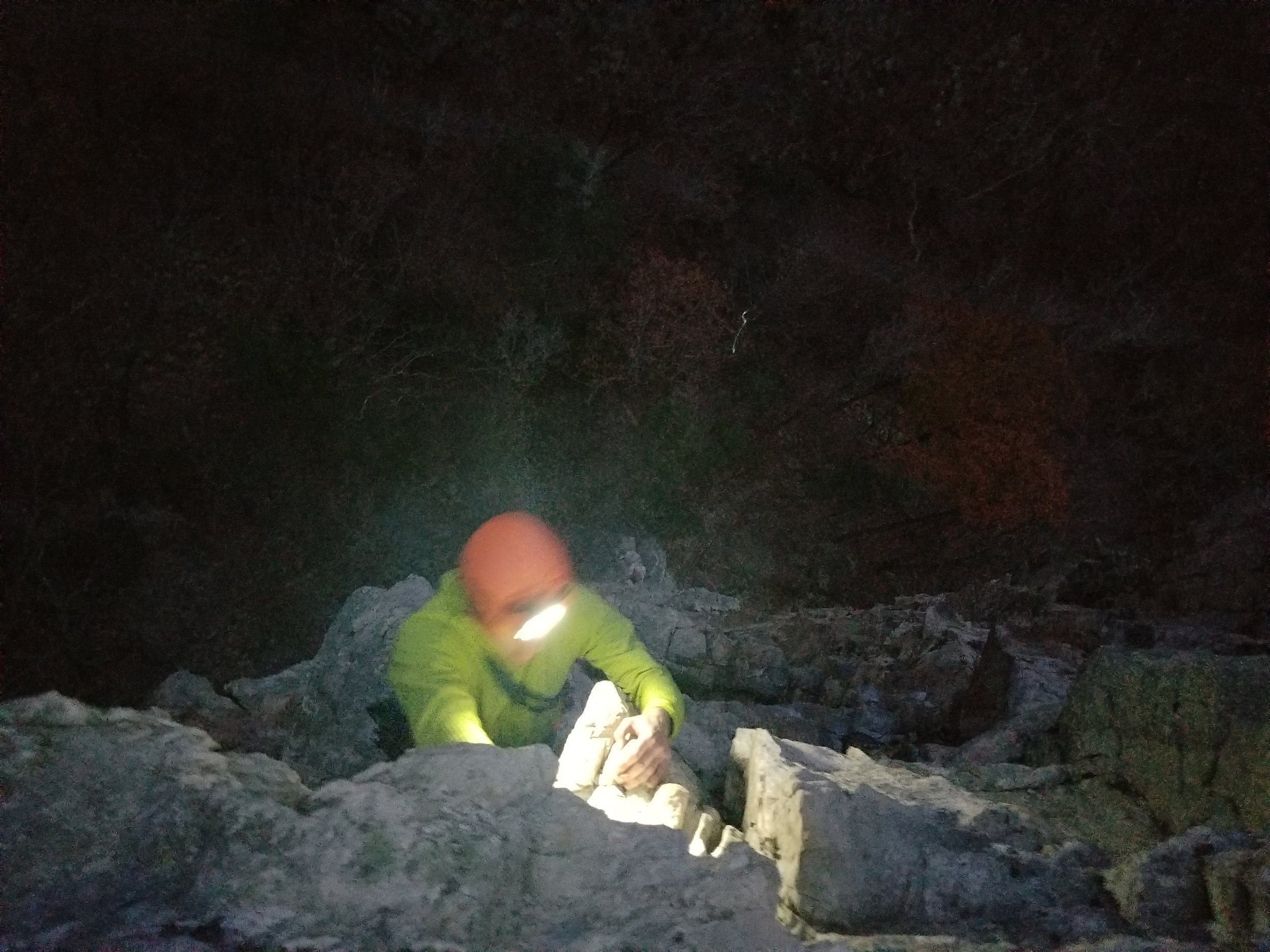Finishing a route at Seneca Rocks as the sun set, we are greeted by hoots of owls and coyotes in the distance.