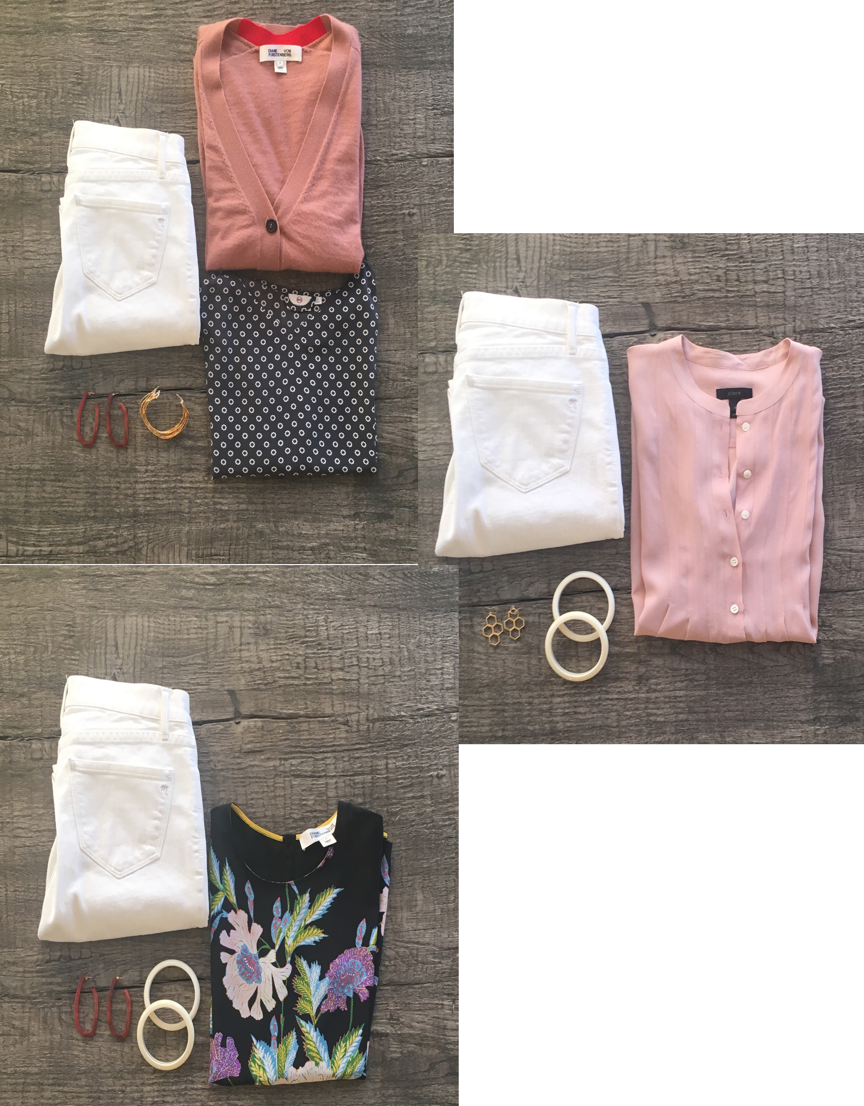 Three outfits using white jeans as the base.