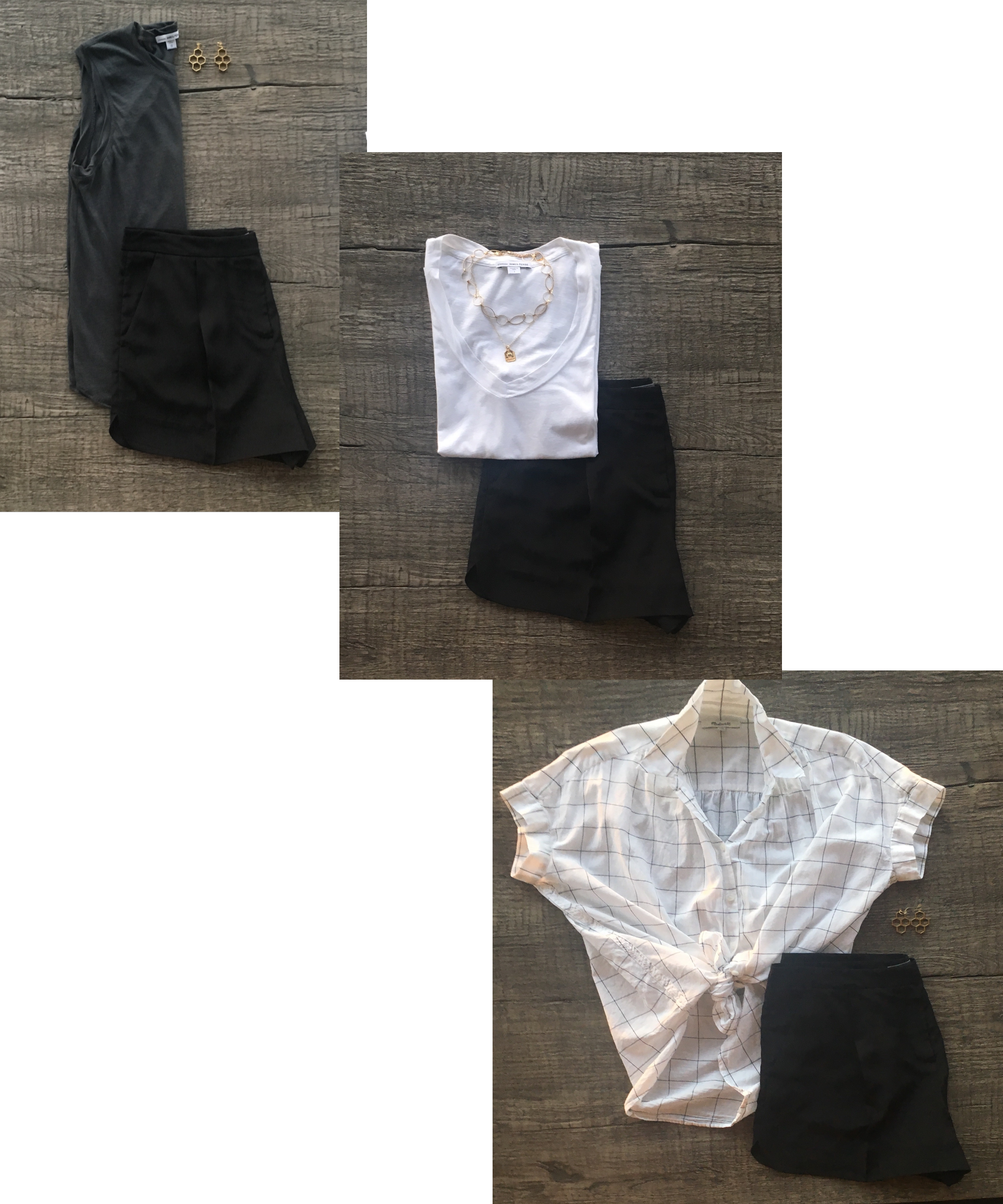 Three outfits using black silk shorts as the base.