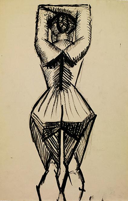Pablo Picasso. Femme debout de dos, Paris, 1908. Encre noire et crayon sur papier, 47,5 x 32 cm © FABA Photo: Marc Domage © Succession Picasso 2019