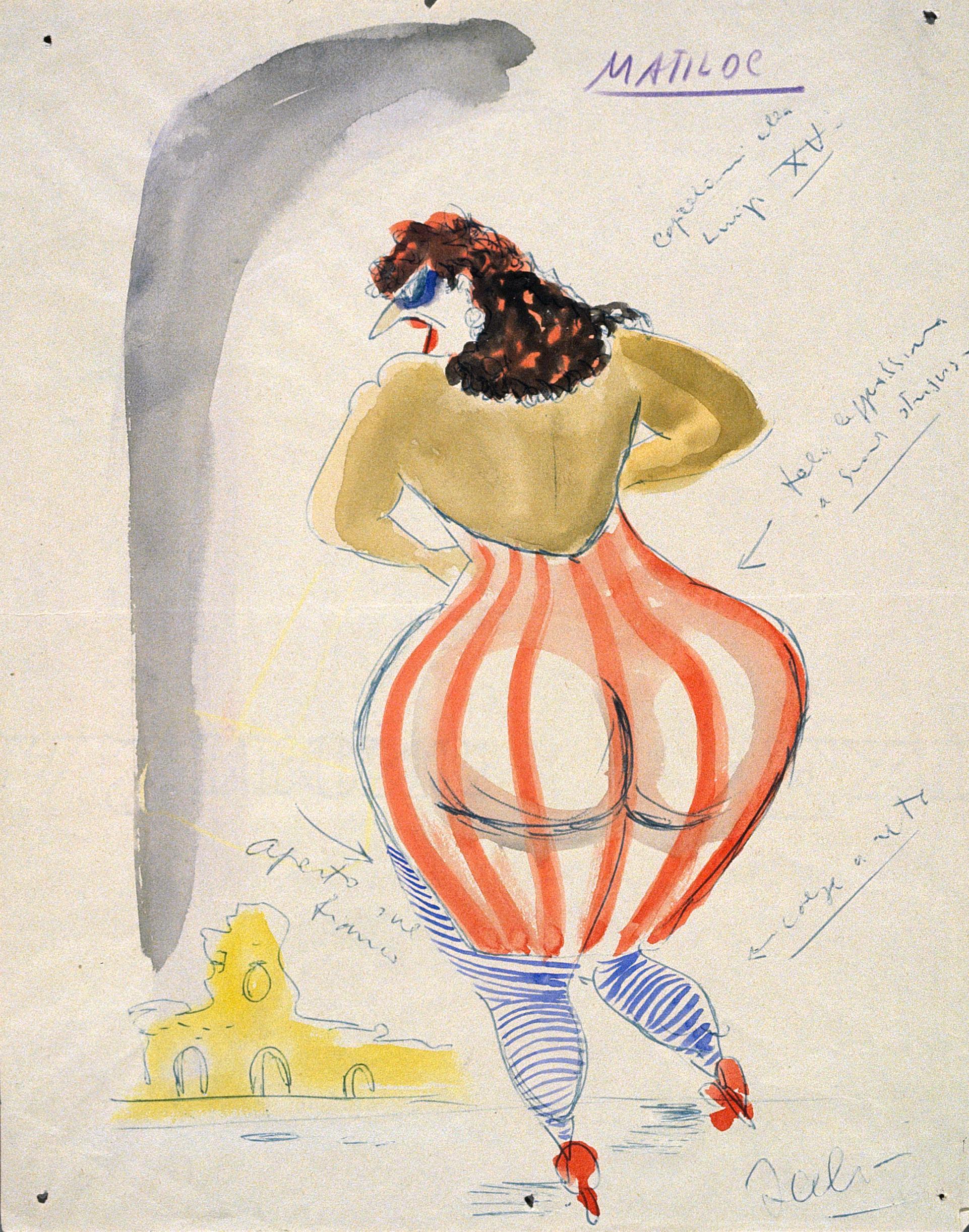 Federico Fellini. Maquette du costume de Matilda pour son film  Les Nuits de Cabiria , 1957. Aquarelle et stylo-bille sur papier, 52,6 x 42,6 cm © ADAGP, Paris, 2019