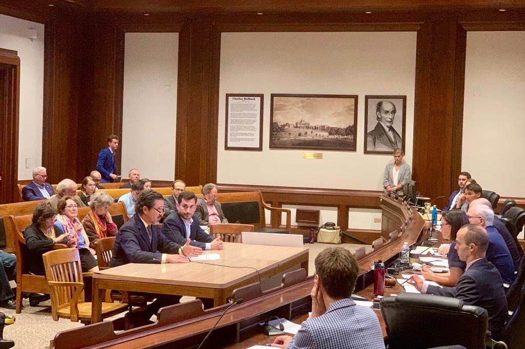 Richard Andre and Erik Peckar or Vineyard Power testifying to state legislators on behalf of Community Empowerment.