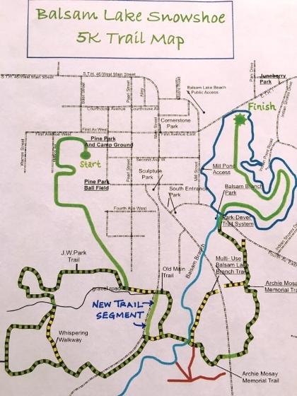 Balsam Lake Snowshoe Race Trail Map