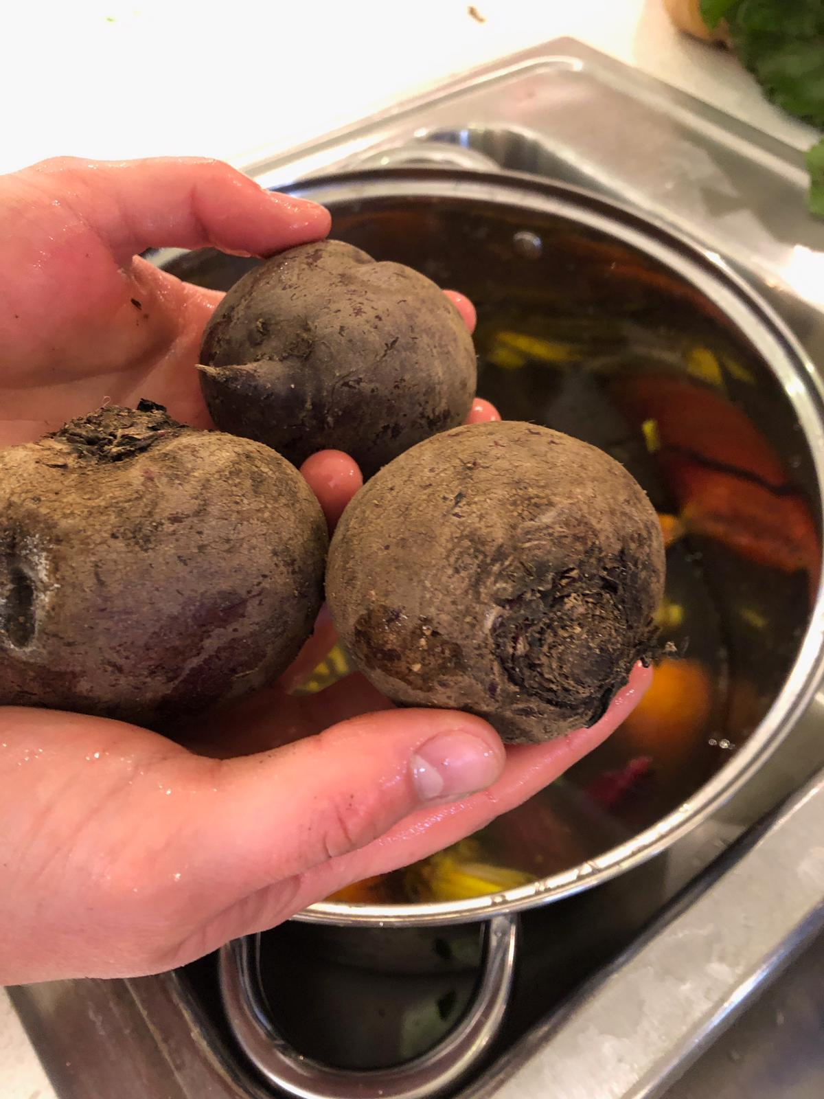 Delicious Dirt - Beets will naturally have a healthy coating of dirt! This is totally normal, it simply needs to be washed off!