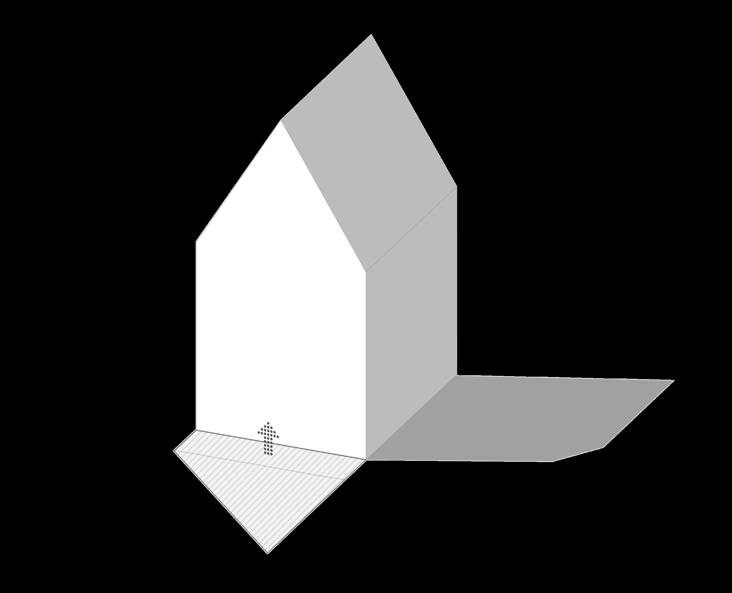 De footprint volgt uit de restruimte die reeds is gemarkeerd in de bestrating