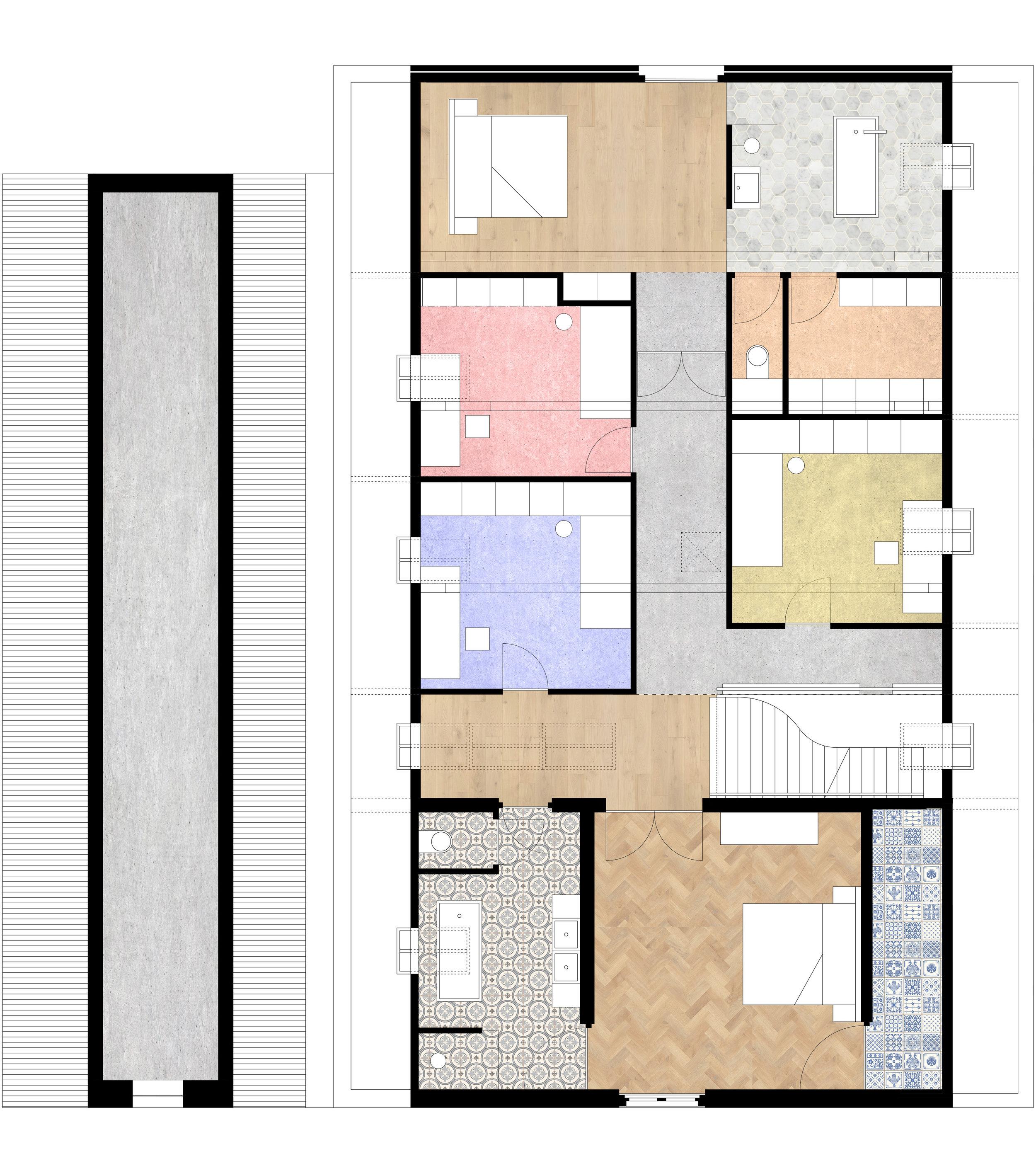 Plattegrond van de verdieping van het landhuis en de zolder van de boerderij. Ontwerp met de nieuwe indeling van de slaapkamers en badkamers.