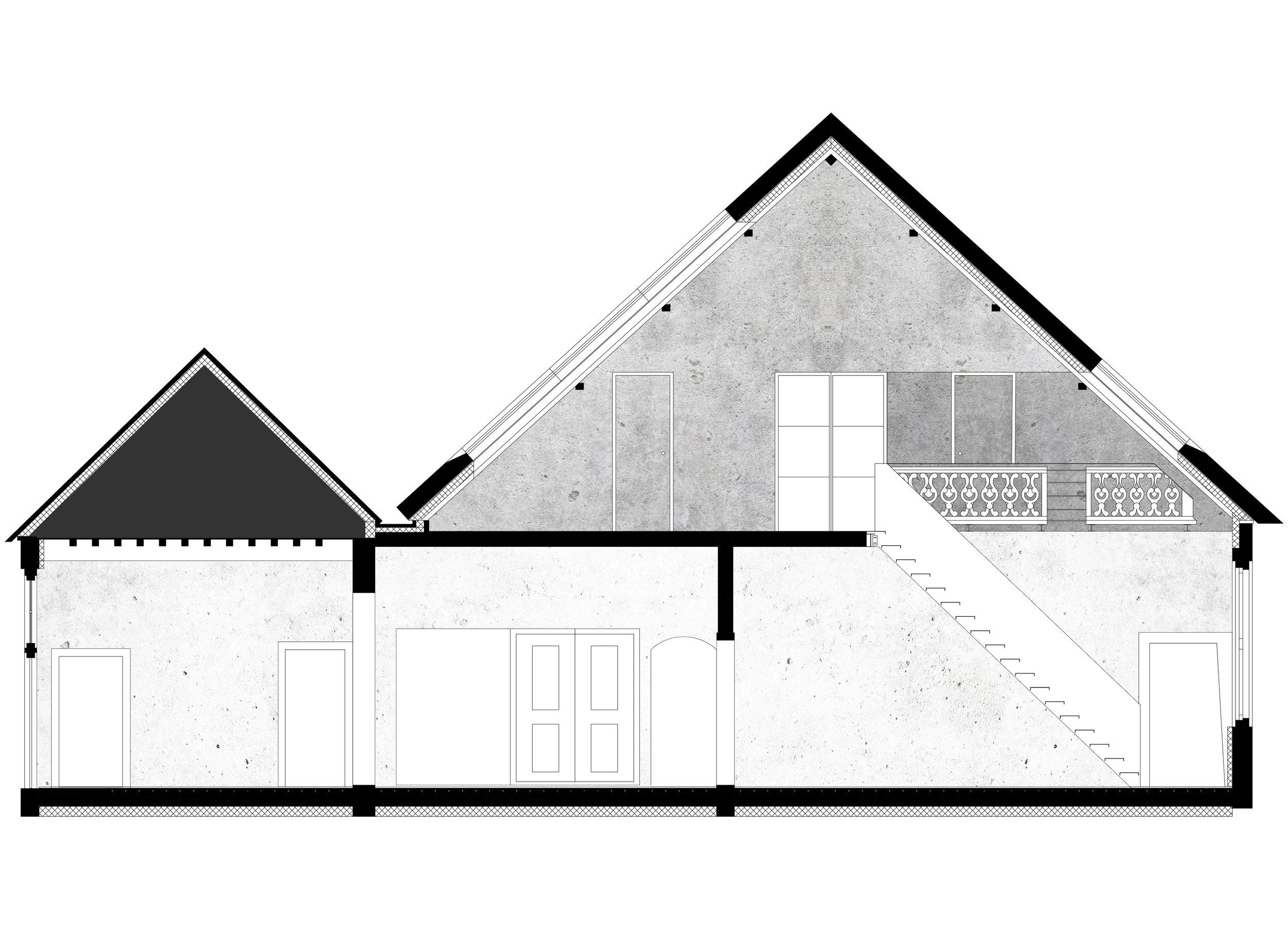 Ontwerptekening ten behoeve van de renovatie van Rijksmonument Snellenburg met een doorsnede over de gang van het landhuis en de nieuwe trap.