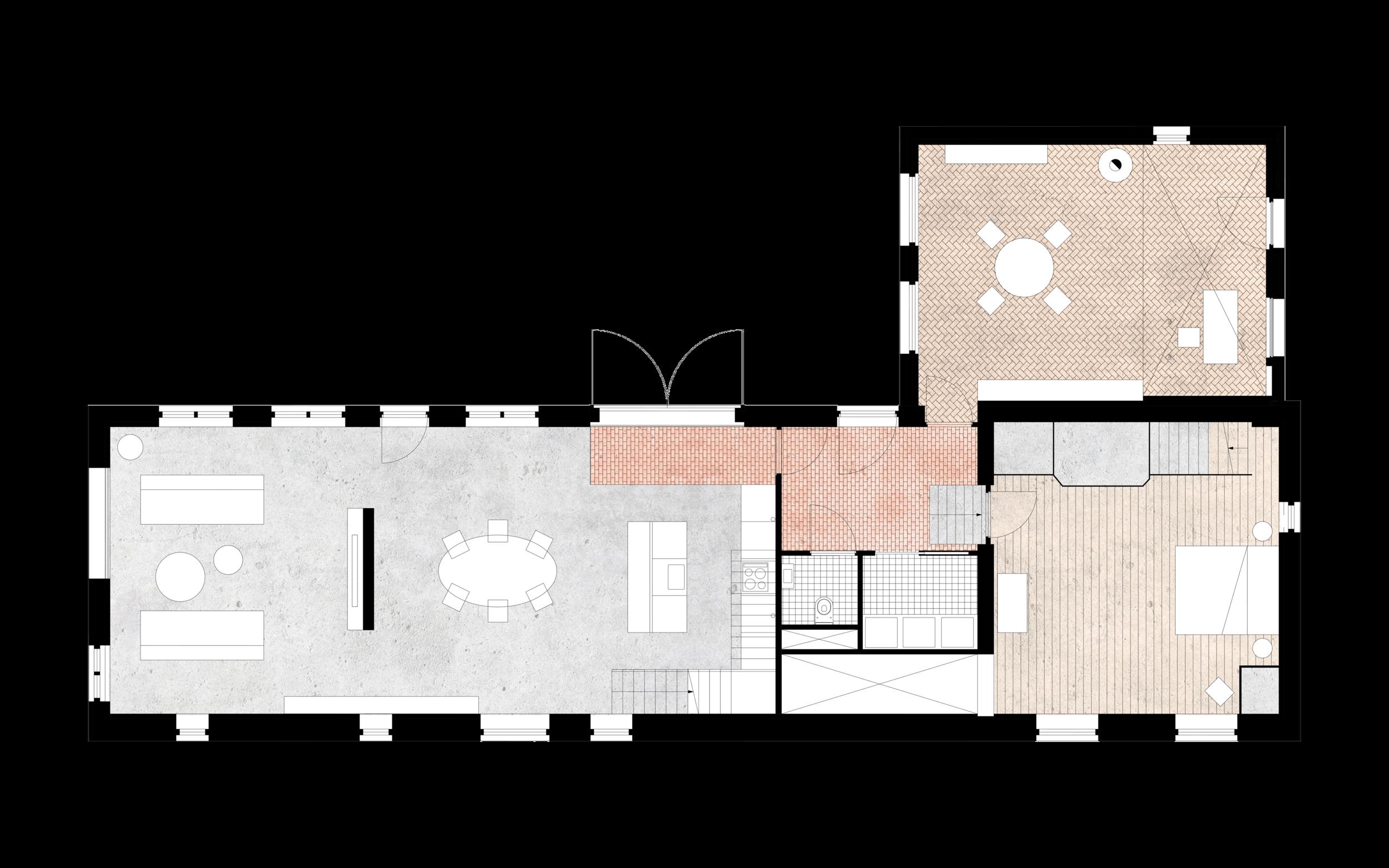 Koetshuis woning plattegrond na renovatie