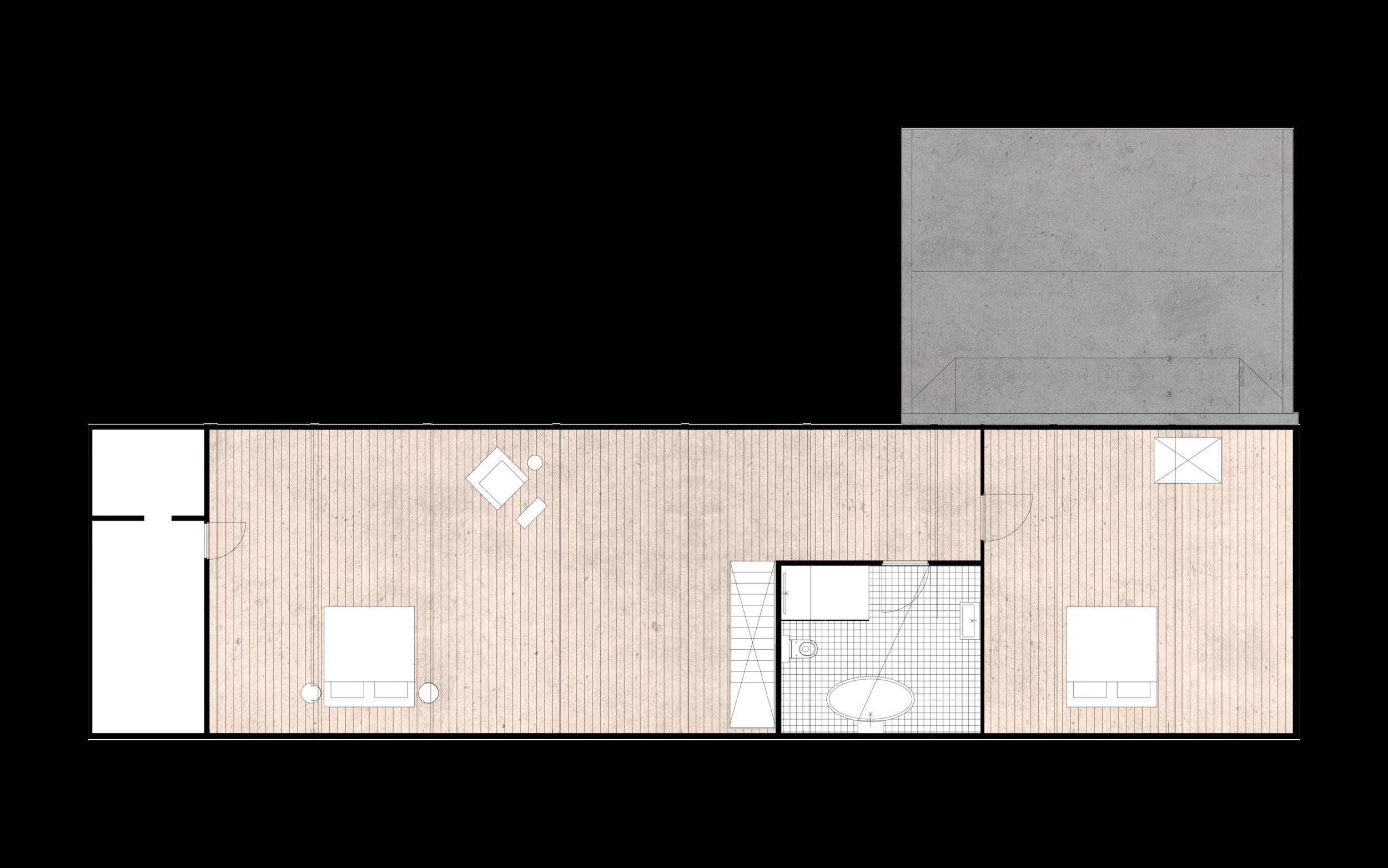 Koetshuis plattegrond verdieping met slaapkamer en badkamer