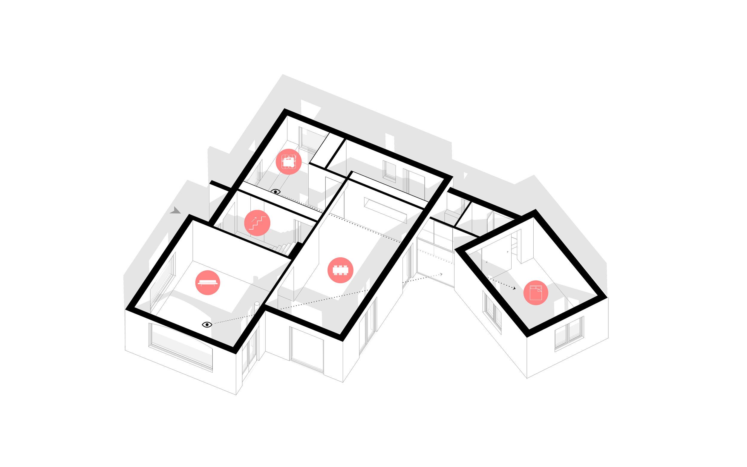 concept van nieuwe indeling met lange zichtlijnen
