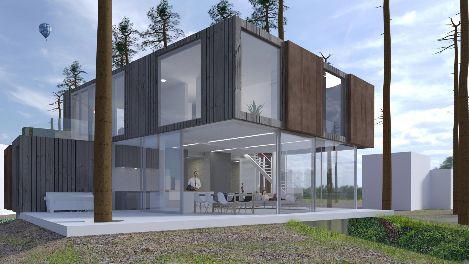 Containerwoning Zeist, glazen hoek woonkamer en terras