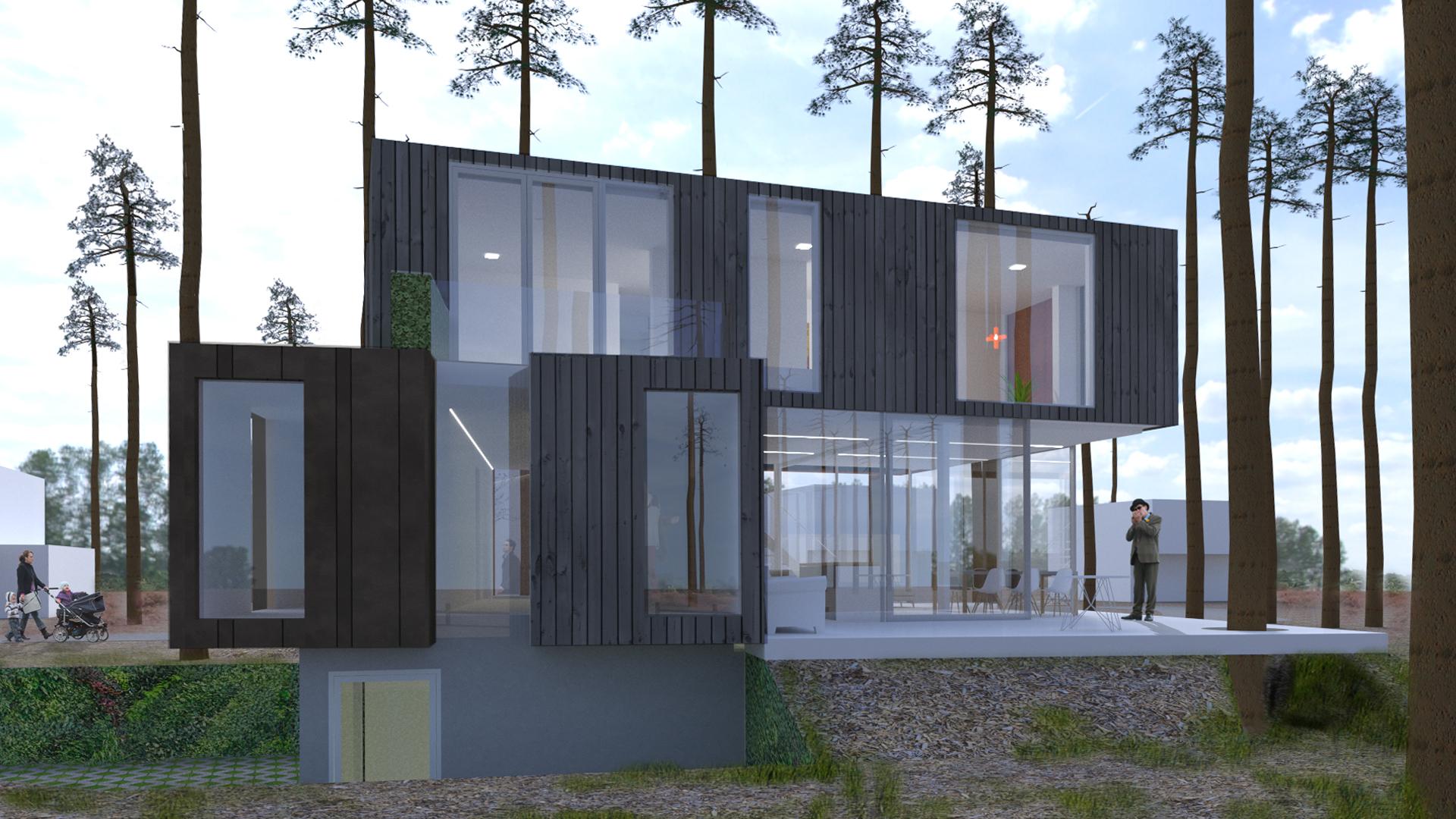 Containerwoning Zeist, tuinzijde met terras en slaapkamers