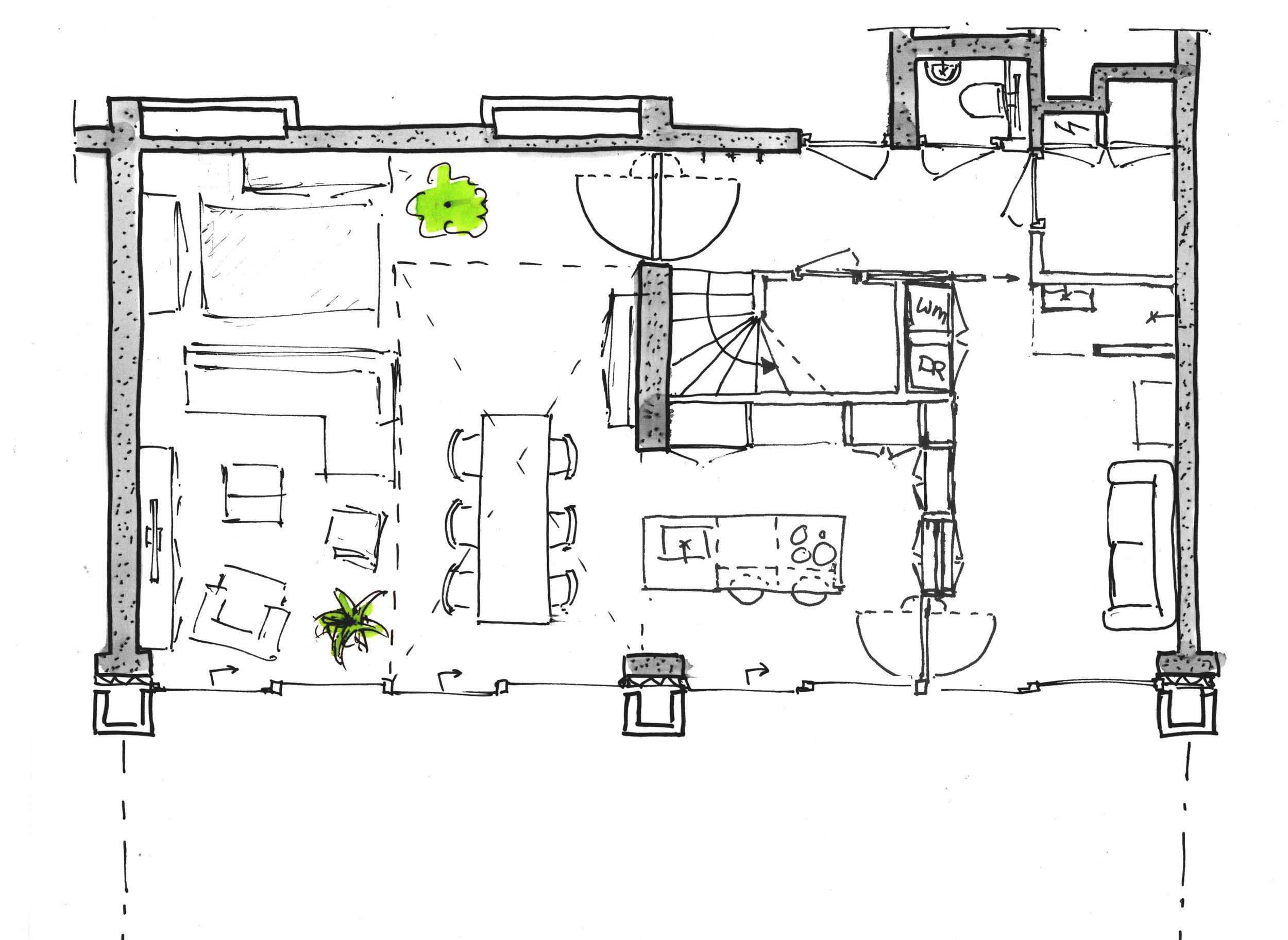 schets plattegrond loft woonkamer
