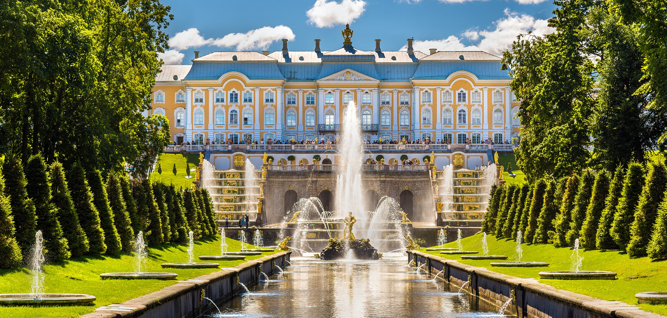 Travelers with locally organized Art Routes learned that Peterhof Palace was built by Peter the Great to rival Versailles.
