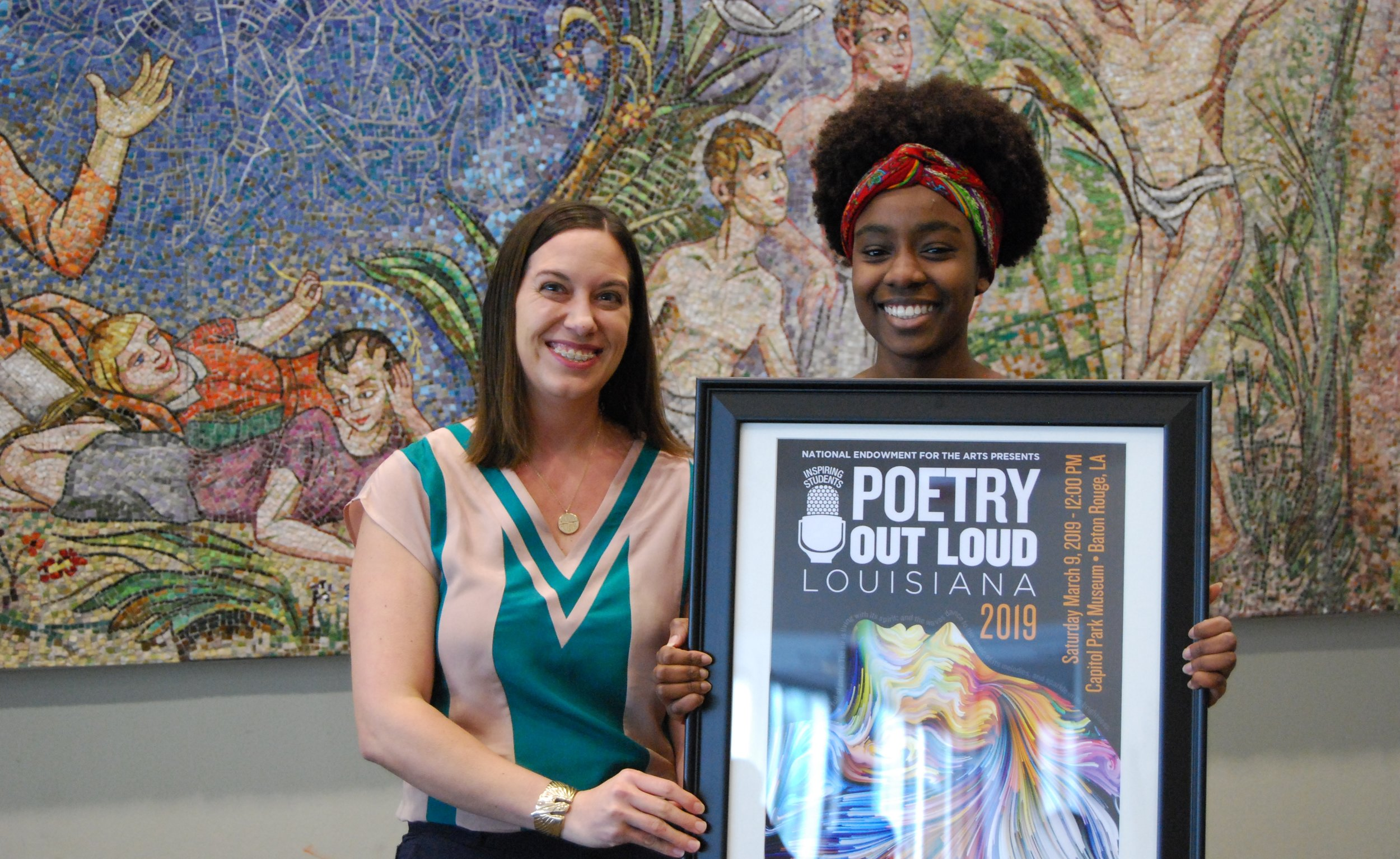 "Congratulations to 2019 Poetry Out Loud Louisiana State winner, Gianina ""Amy"" Ndiaye, pictured right, with Kristin P. Sanders, program assistant secretary to the Lt. Governor of Louisiana (pictured left). Amy will represent the state at the National Poetry Out Loud competition this April in Washington, D.C."
