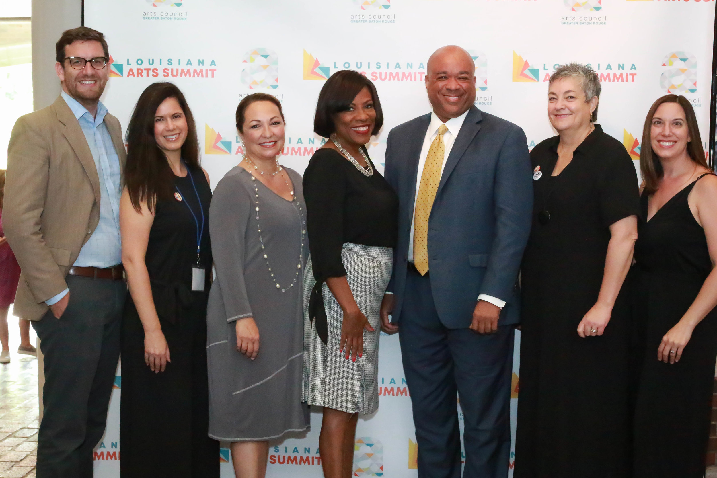 Sam Oliver (Acadiana Center for the Arts in Lafayette), Carrie Broussard (The Office of Cultural Development), Renee Chatelain, (Arts Council of Greater Baton Rouge), Mayor-President Sharon Weston Broome, Blaine Grimes (Campus Federal Credit Union), Cheryl Castille (Louisiana Division of the Arts)