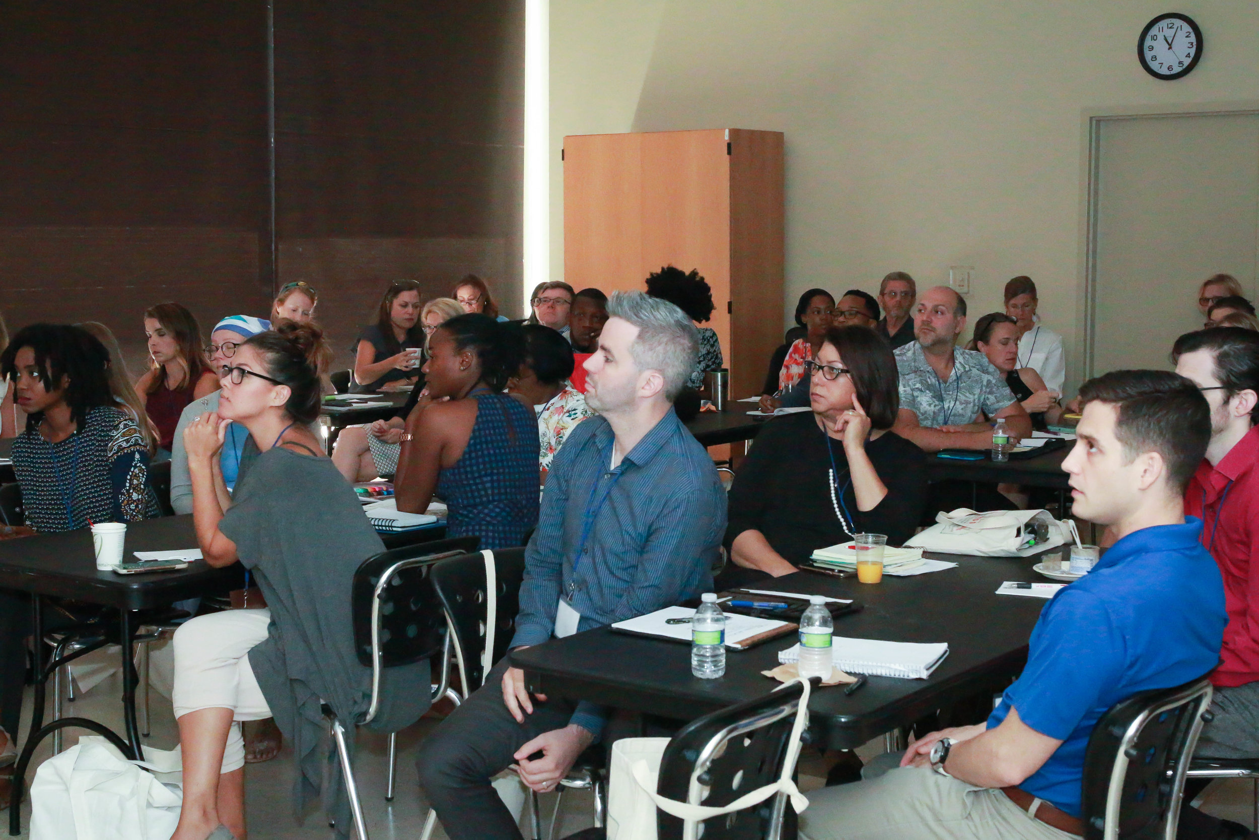 "Louisiana Arts Summit attendees listening intently to Liz Goad's presentation ""Demystifying Creative Grants"""