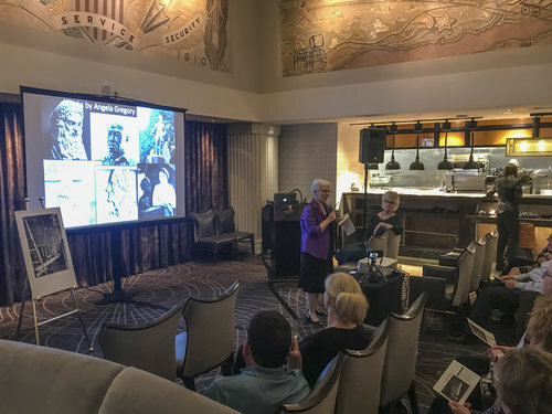 Susan Hymel, Angela Gregory historian, speaks in The Gregory restaurant, Watermark Hotel, Baton Rouge, at the launch of A Dream and a Chisel, 7 February 2019.