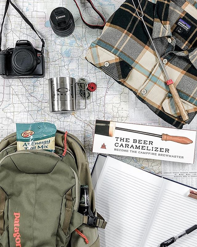 ..and so the adventure begins..⛰🥾🌲 Everything a hiker needs for an adventure! Grab your backpack and GO!  #beercaramelizer #hiking #hikinggear #patagonia #summitbeer #adventure #beer