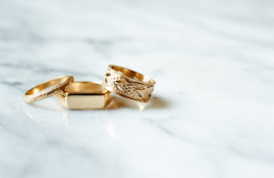 From left to right: (click to shop)   14k Gold Winthrop Ring ,  14k Gold Patrick Ring ,  14k Gold Vine Ring