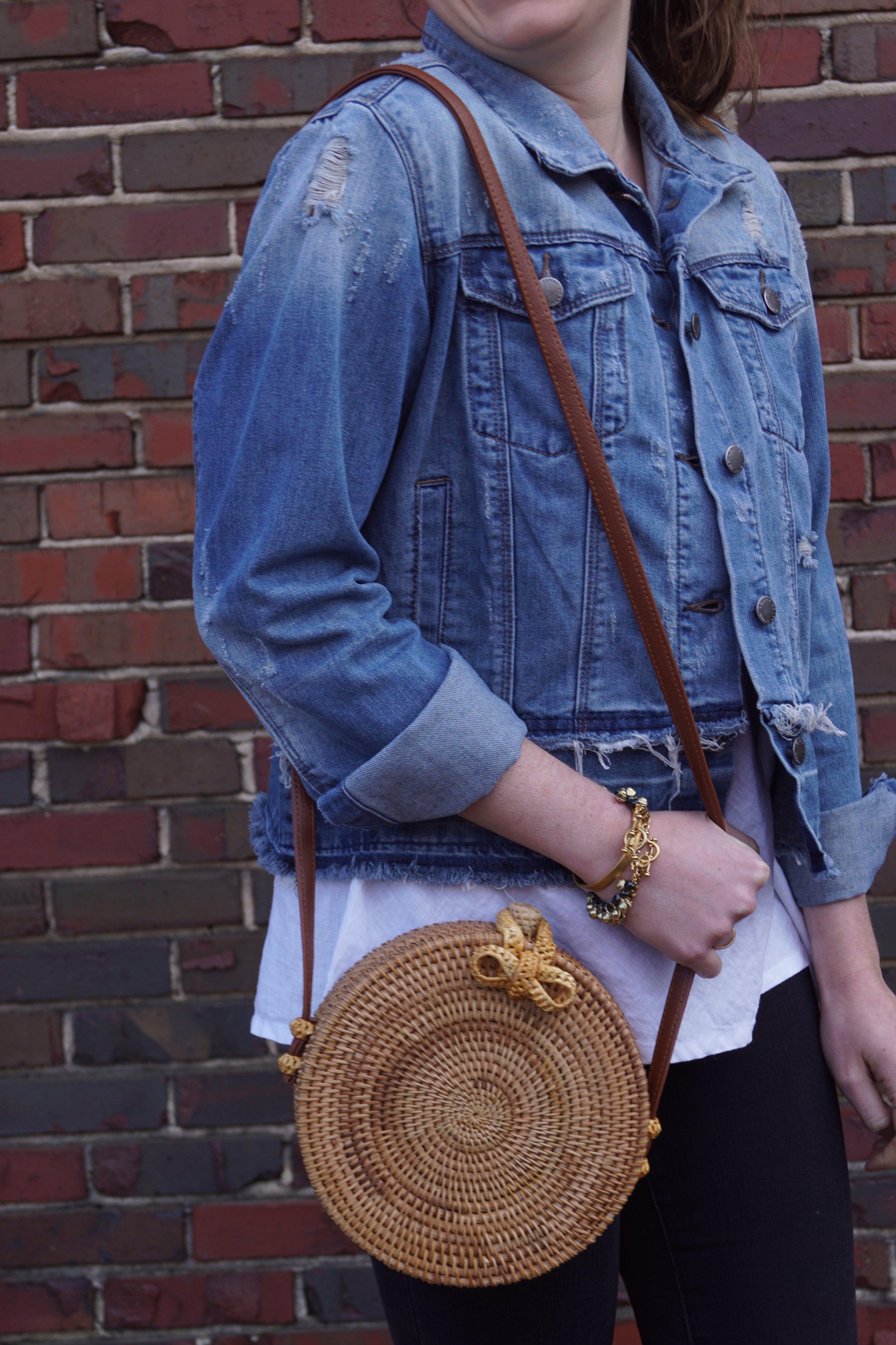 Distressed Denim jacket and rattan circle bag