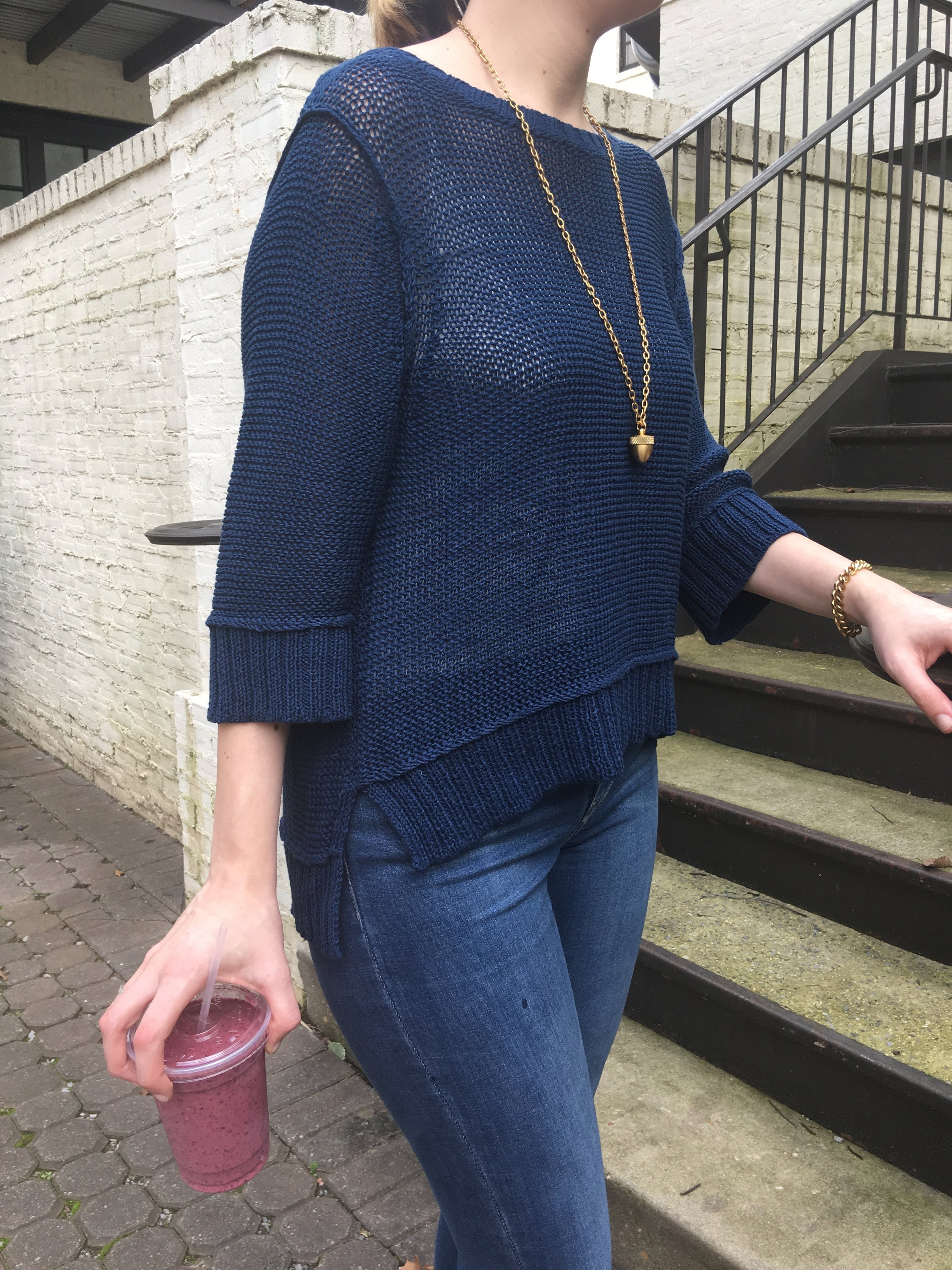 spring sweater in navy