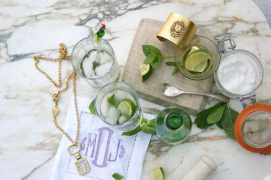 "Refreshments on the patio.   Necklace on left:  33"" Edinburgh Key Necklace   Cuff on right:  Woodley Cuff Bracelet"