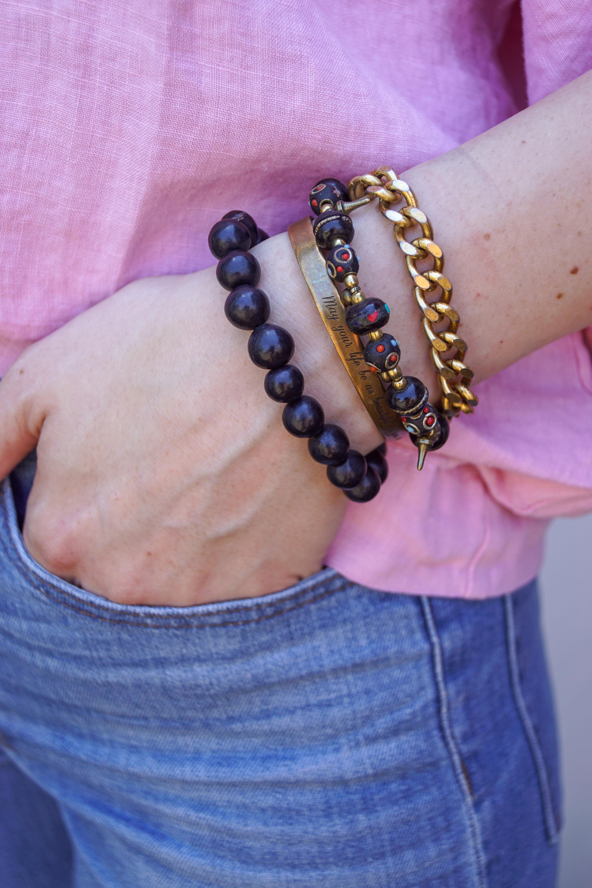 Black pottery bead bracelet from Oaxaca, Mexico
