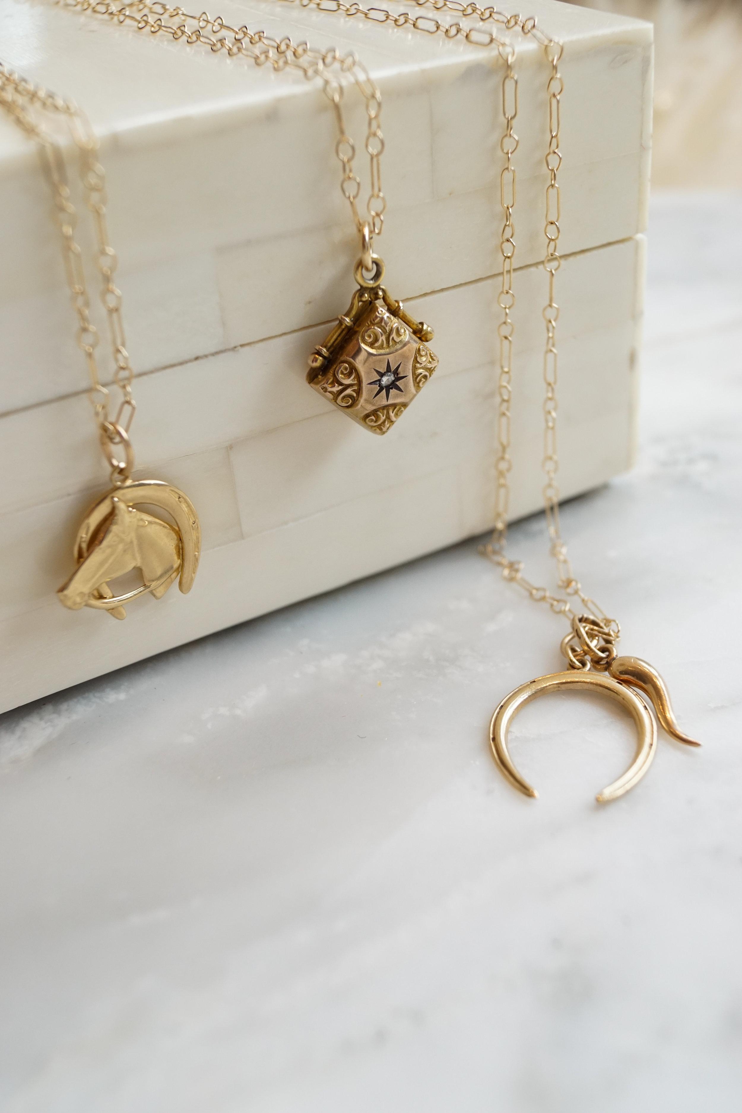 one of a kind 14k pendants