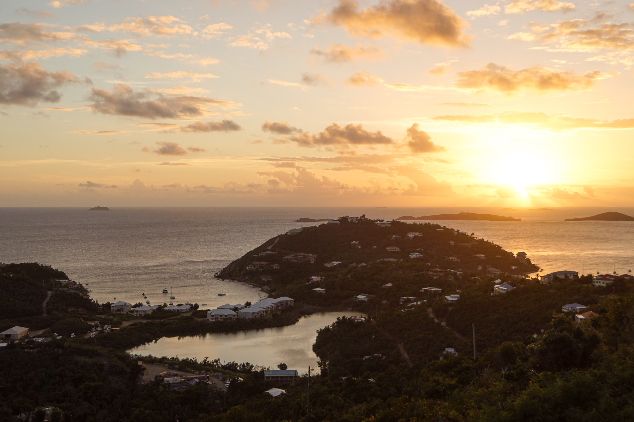 Sunset over Chocolate Hole in St. John