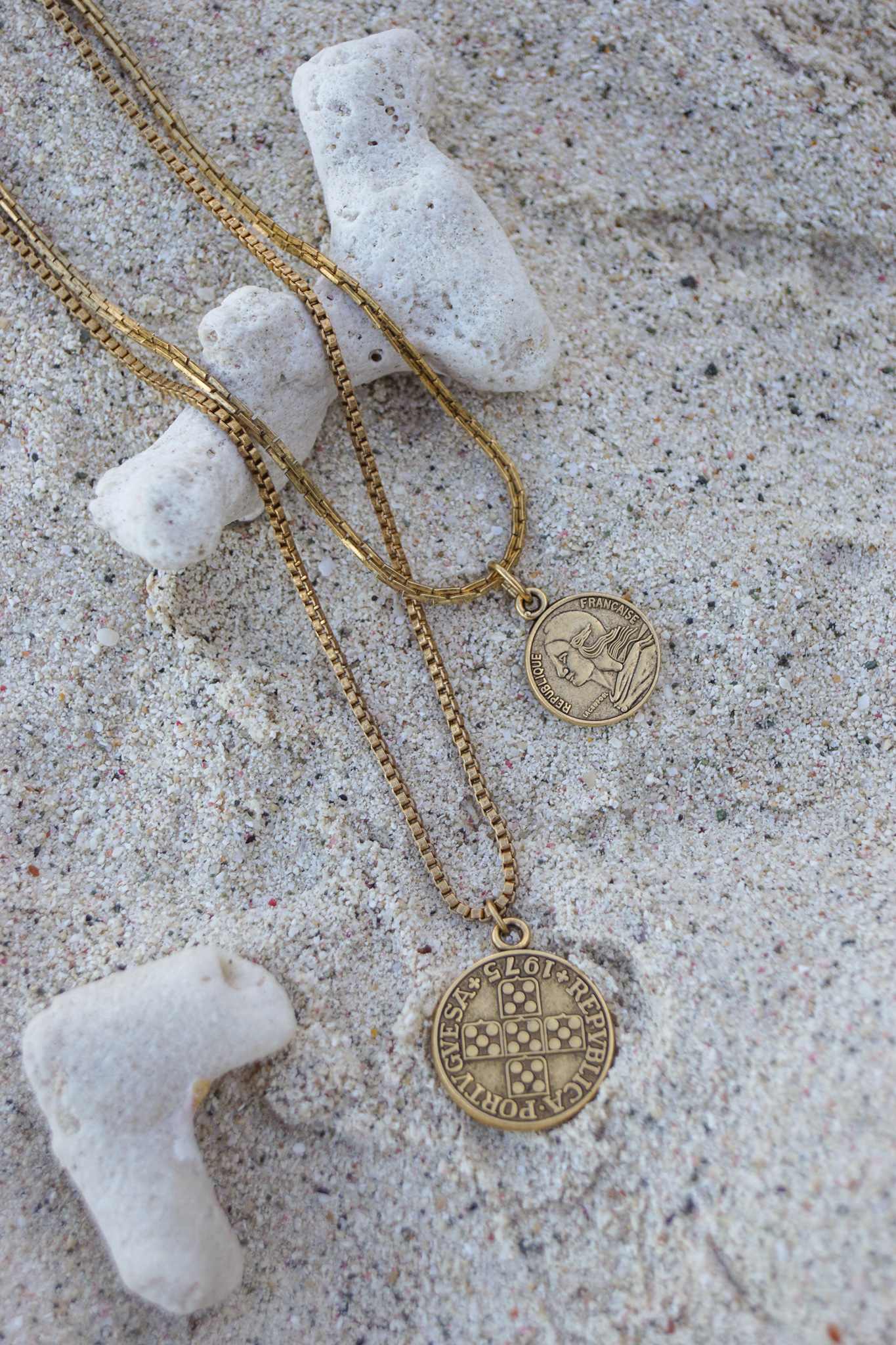 """Click here to shop the 18"""" French Coin necklace.   Click here to shop the 24"""" Portuguese Coin necklace."""