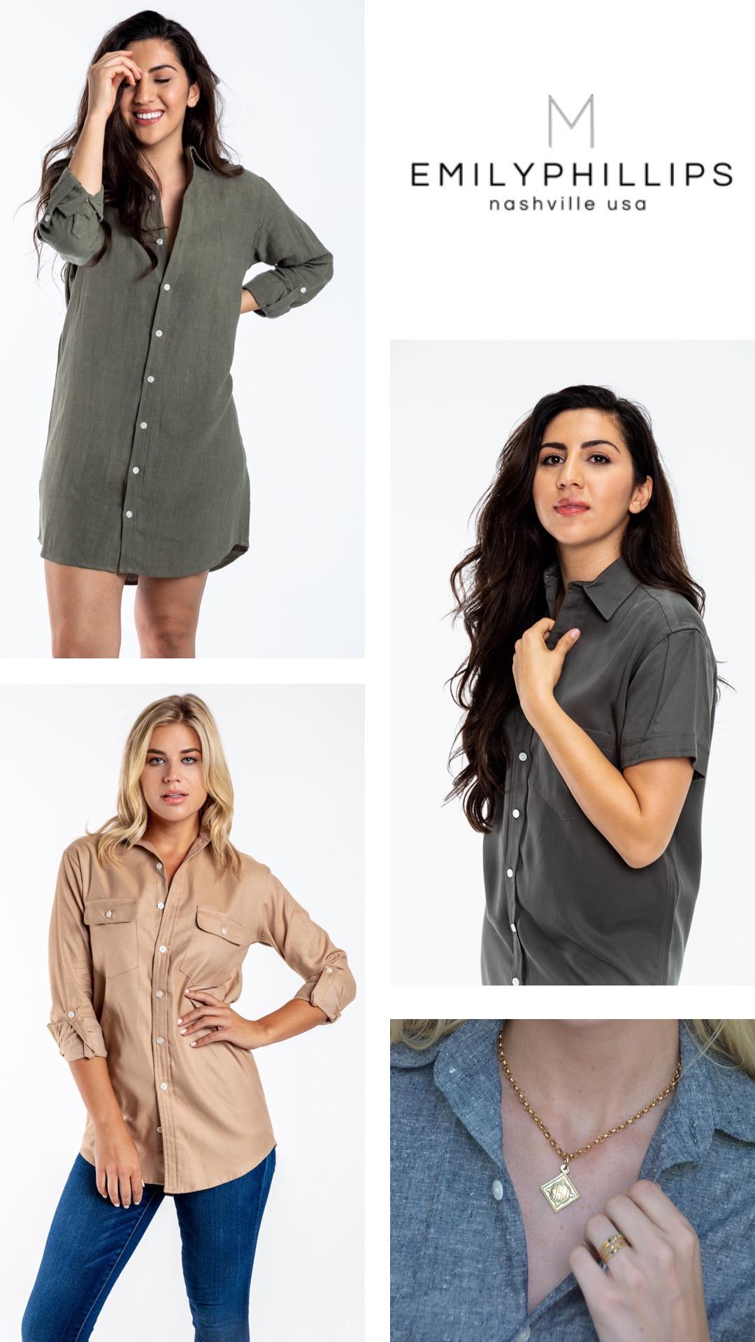 Top left: Olive Linen Girlfriend Shirt; Bottom left: Camel Girlfriend Shirt; Middle Right: Charcoal Girlfriend Dress; Bottom Right: Black Linen Girlfriend Dress