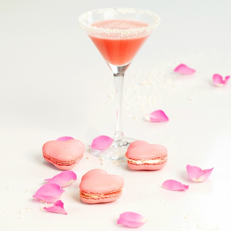 The Lanique Rose Liqueur Lounge filled with macarons and cocktails made by Meredith O'Shaughnessy and her female patisserie team at Ohlala bakery London.