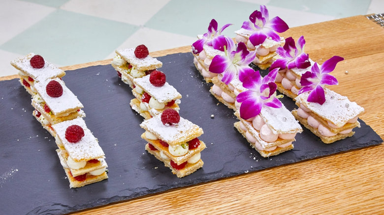 Rooh Afza and Raspberry Cream Mille Feuille -