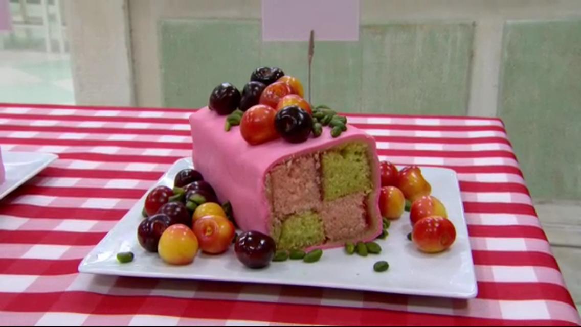 Pistachio & Cherry Battenberg Cake