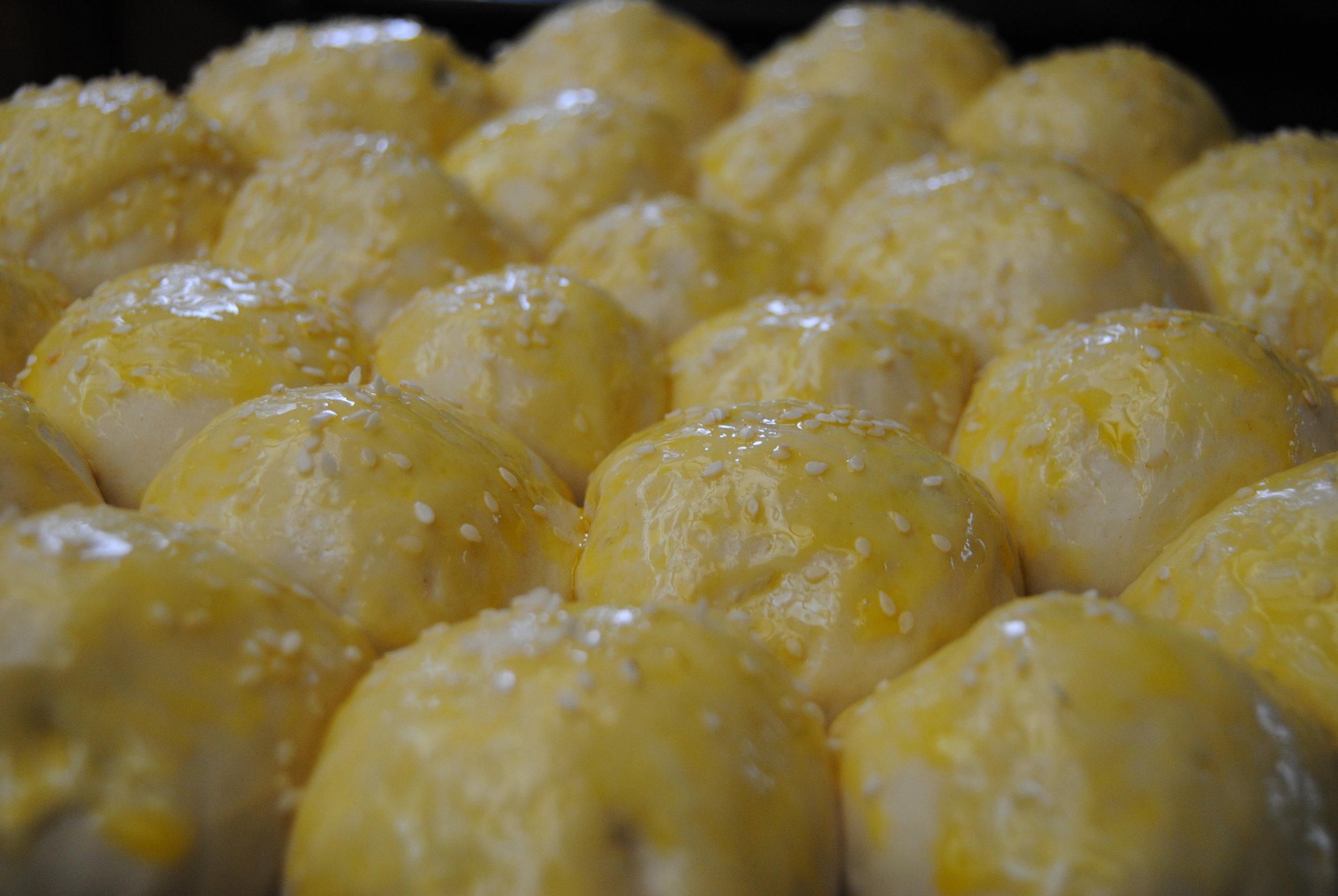 Egg yolk wash prior to baking