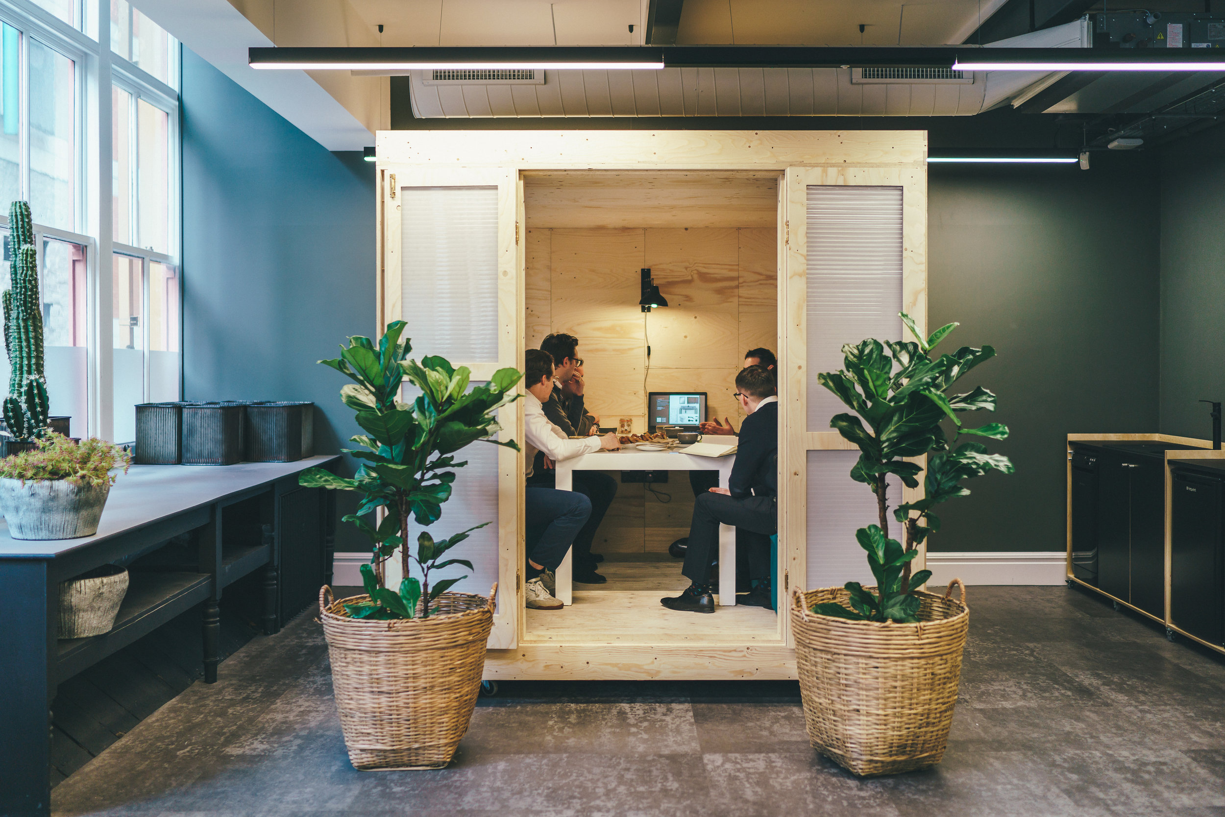 The sustainable meeting room pod in the co-working space