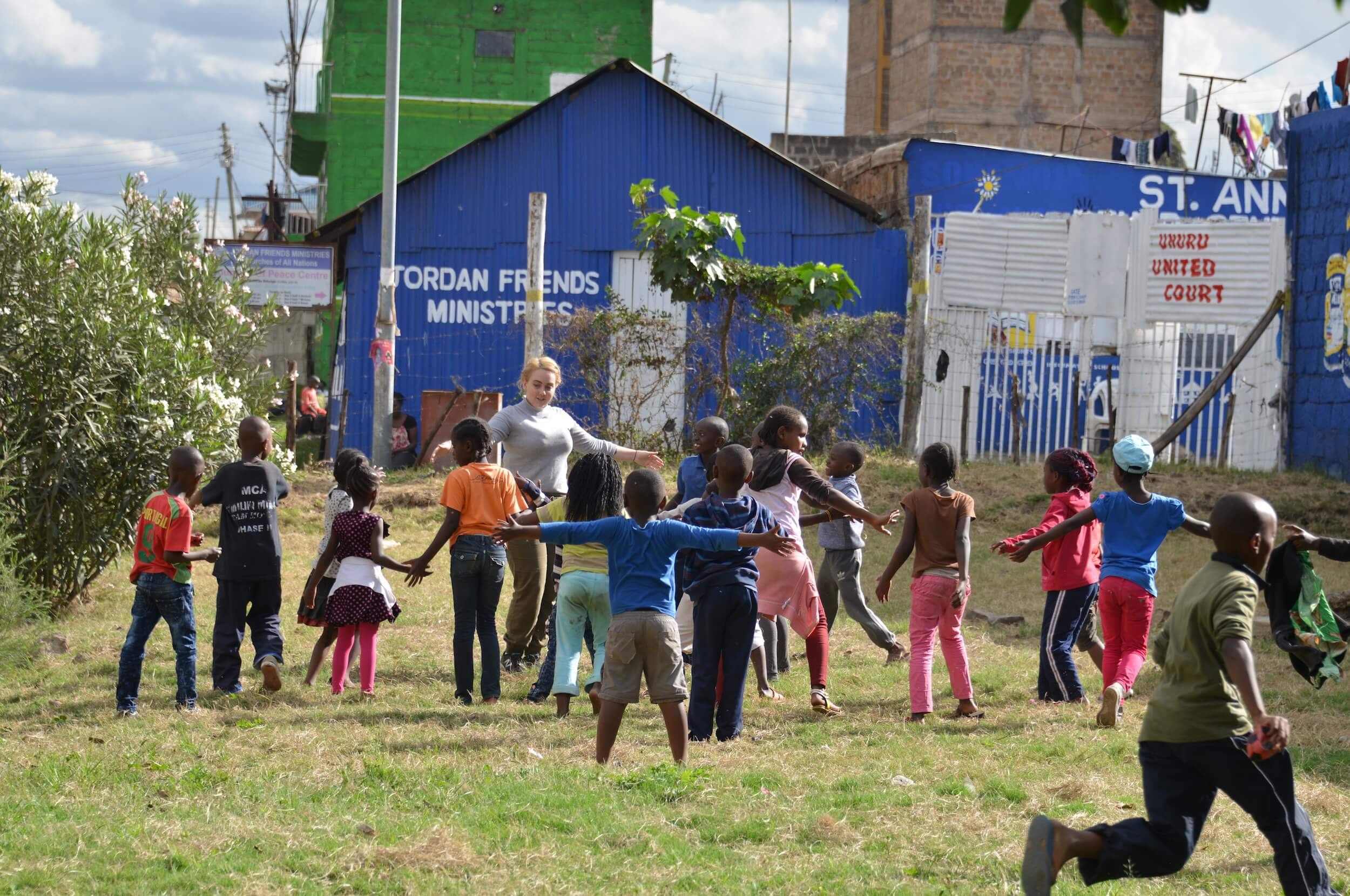Neighborhood children playing in renovated public court, Nairobi Credit: Block by Block team