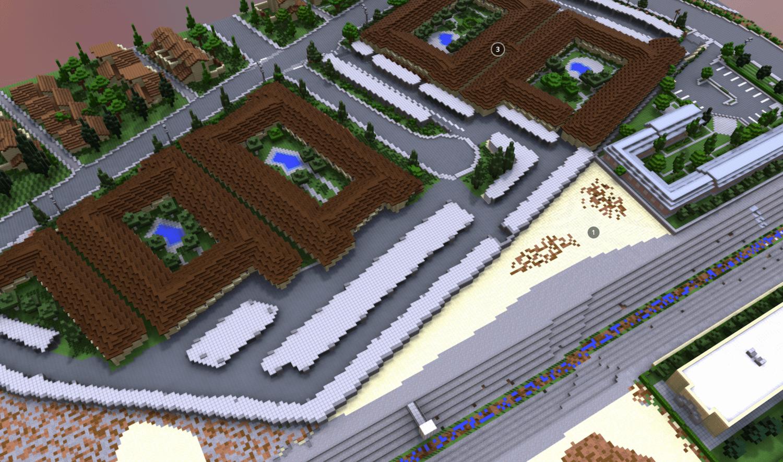 3D Minecraft Model of Community-Designed Public Space, Anaheim, California