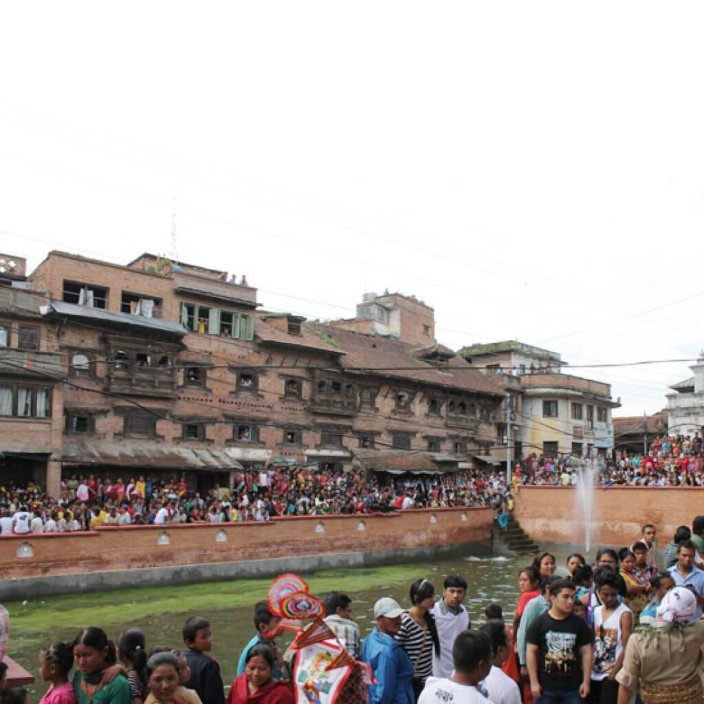 Community celebration in the restored Dey Pukhu, Kirtipur, Nepal Credit: CIUD