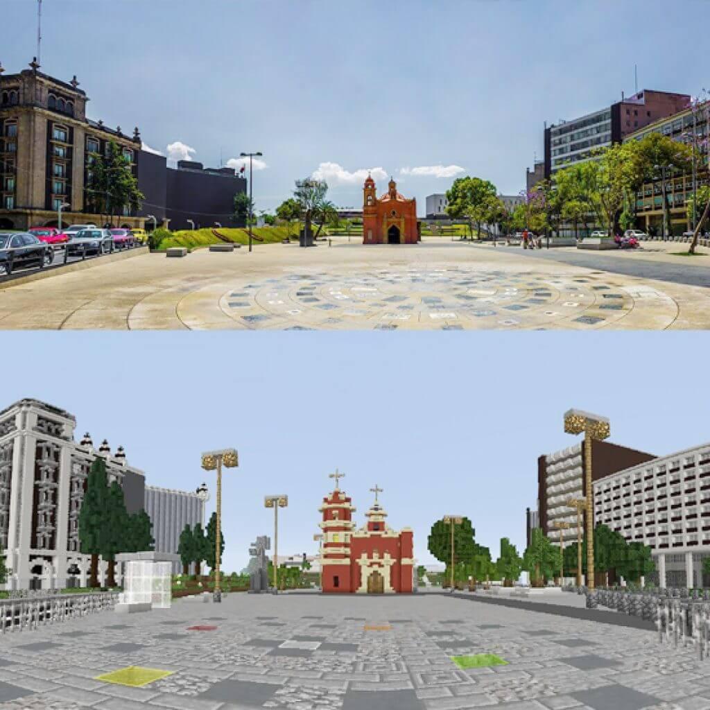 Photo/3D Minecraft Model of Plaza Tlaxcoaque, Mexico City