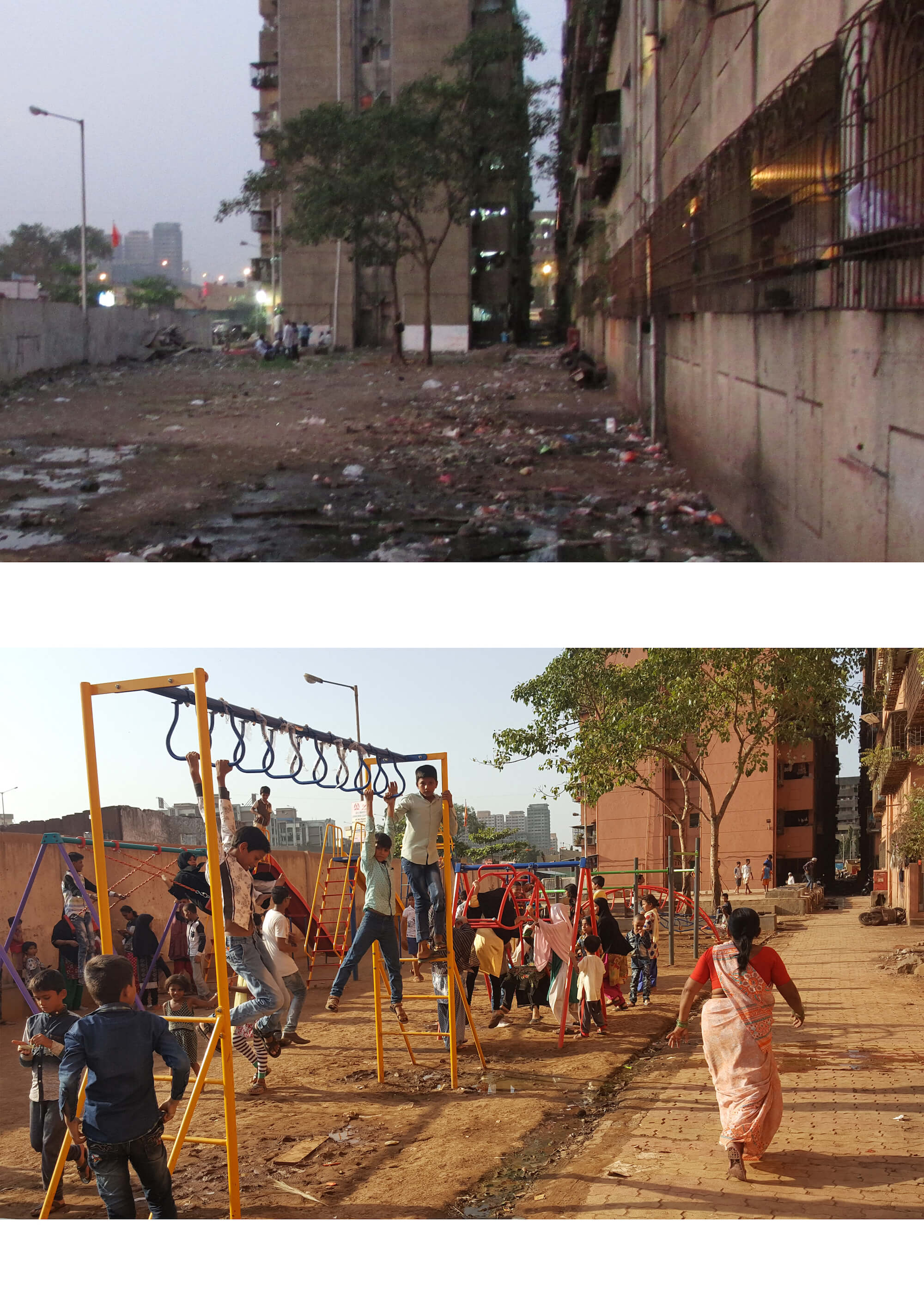 Transformations - Before and after photos of rehabilitated areas in Gautam Nagar Credit: MESN