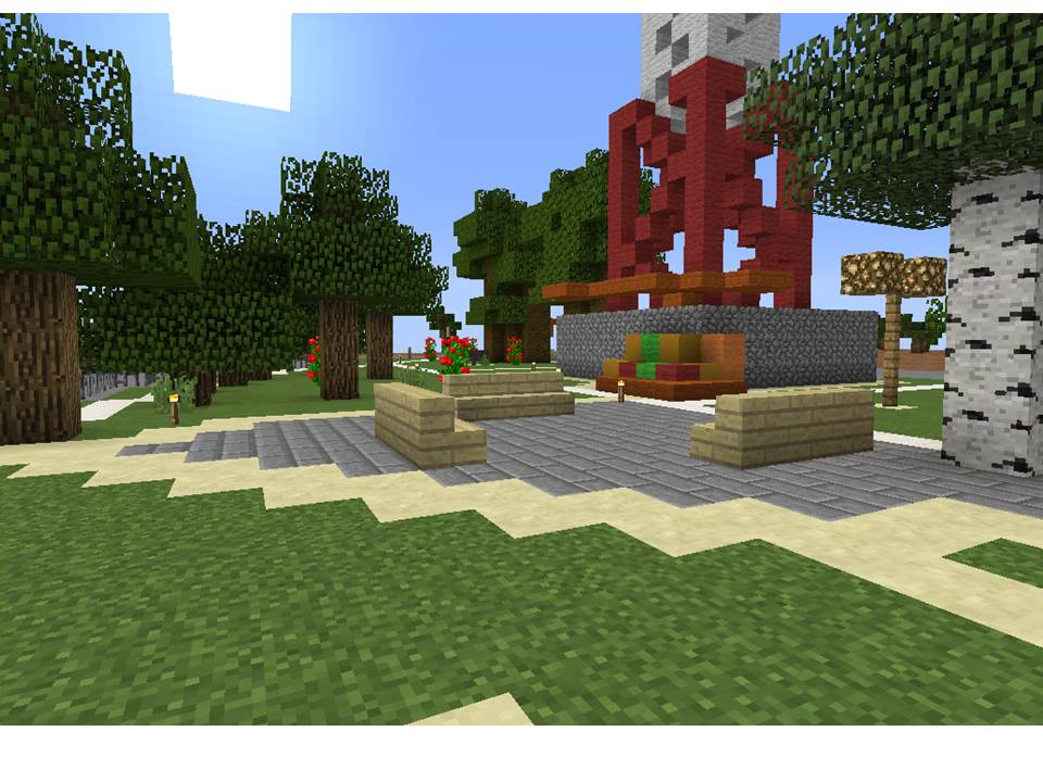Another proposal uses Minecraft to show a park design with open seating and more trees for shade cover.