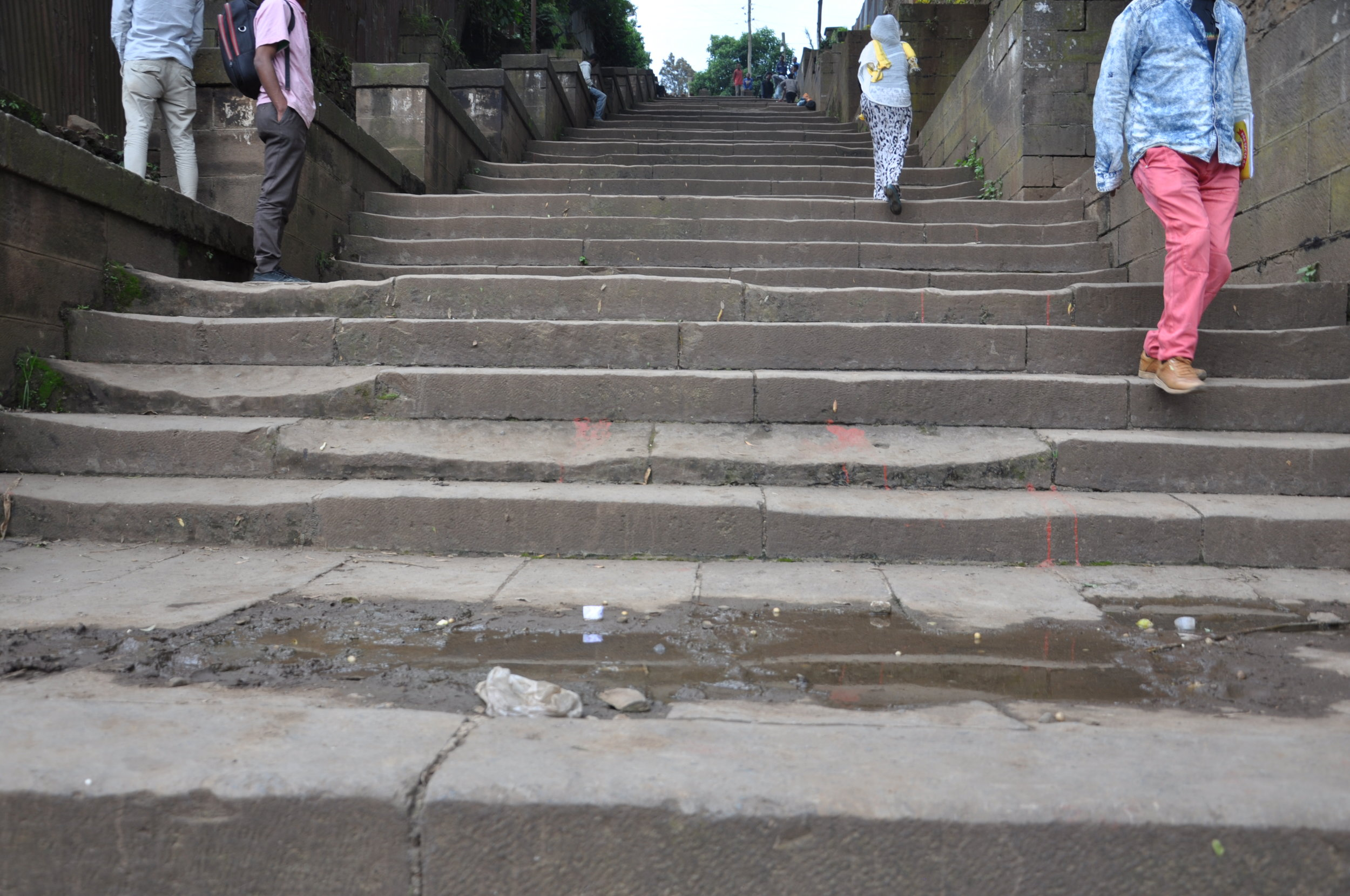 Dilapidated steps lead up to the school for the blind. Credit: UN-Habitat