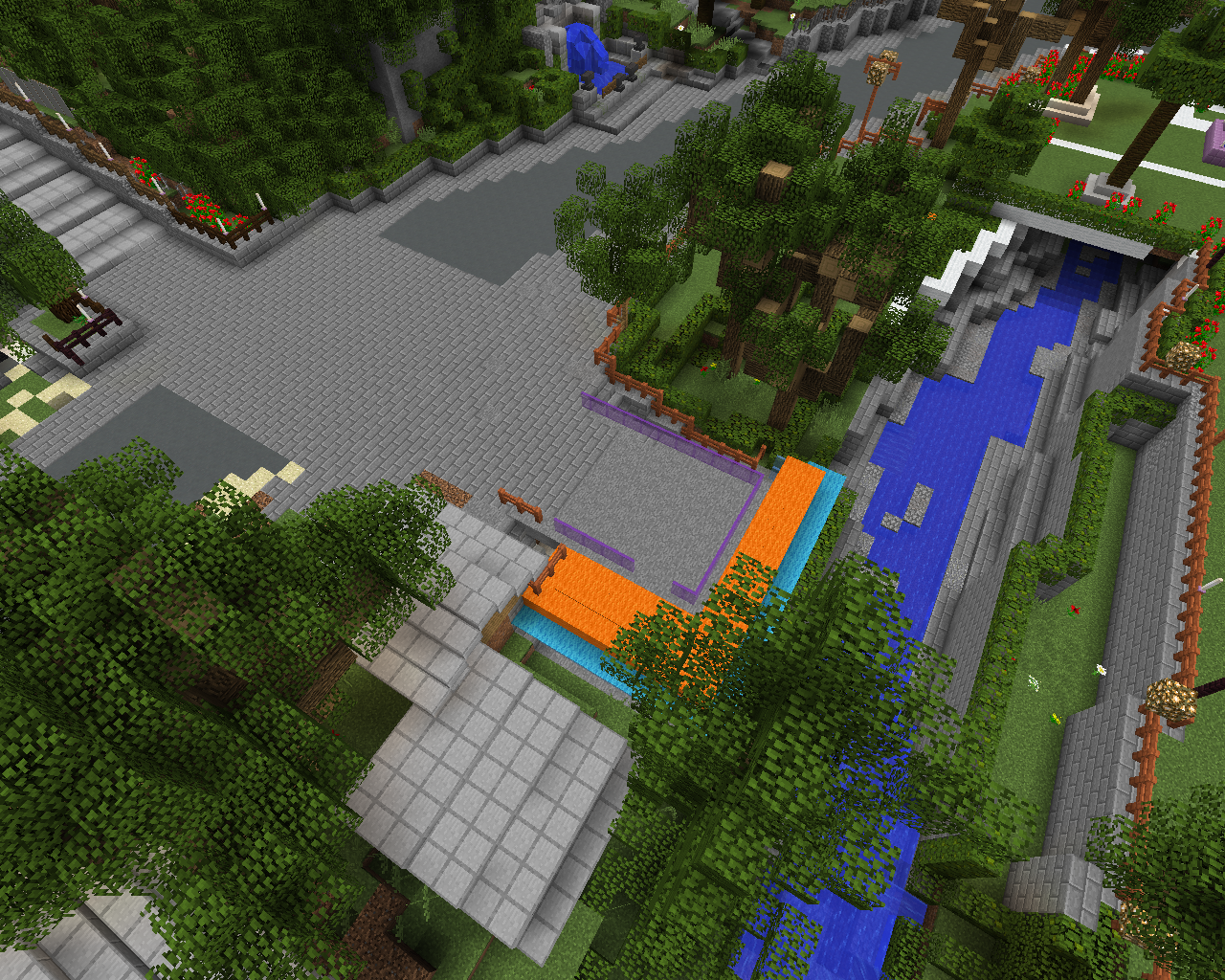A proposed design in Minecraft shows paved, open space between the steps and the water.