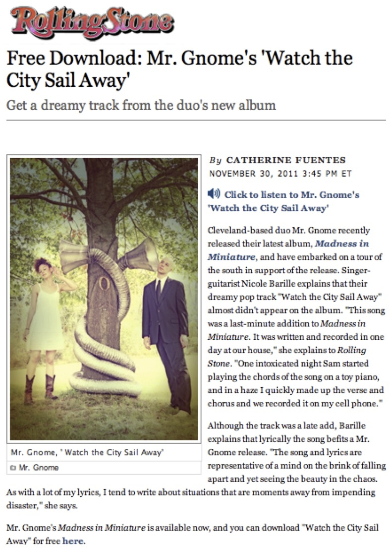 Rolling Stone - Free Download: Mr. Gnome's 'Watch the City Sail Away'November 2011READ MORE