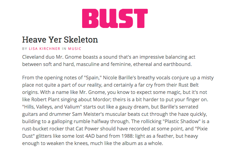 Bust Magazine - Heave Yer Skeleton ReviewFebruary 2010READ MORE