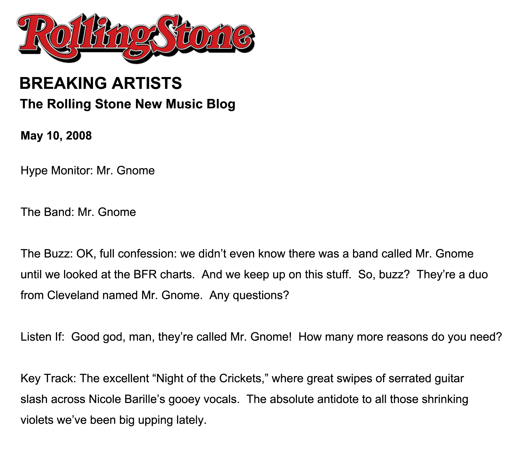 Rolling Stone - Breaking Artists May 2008